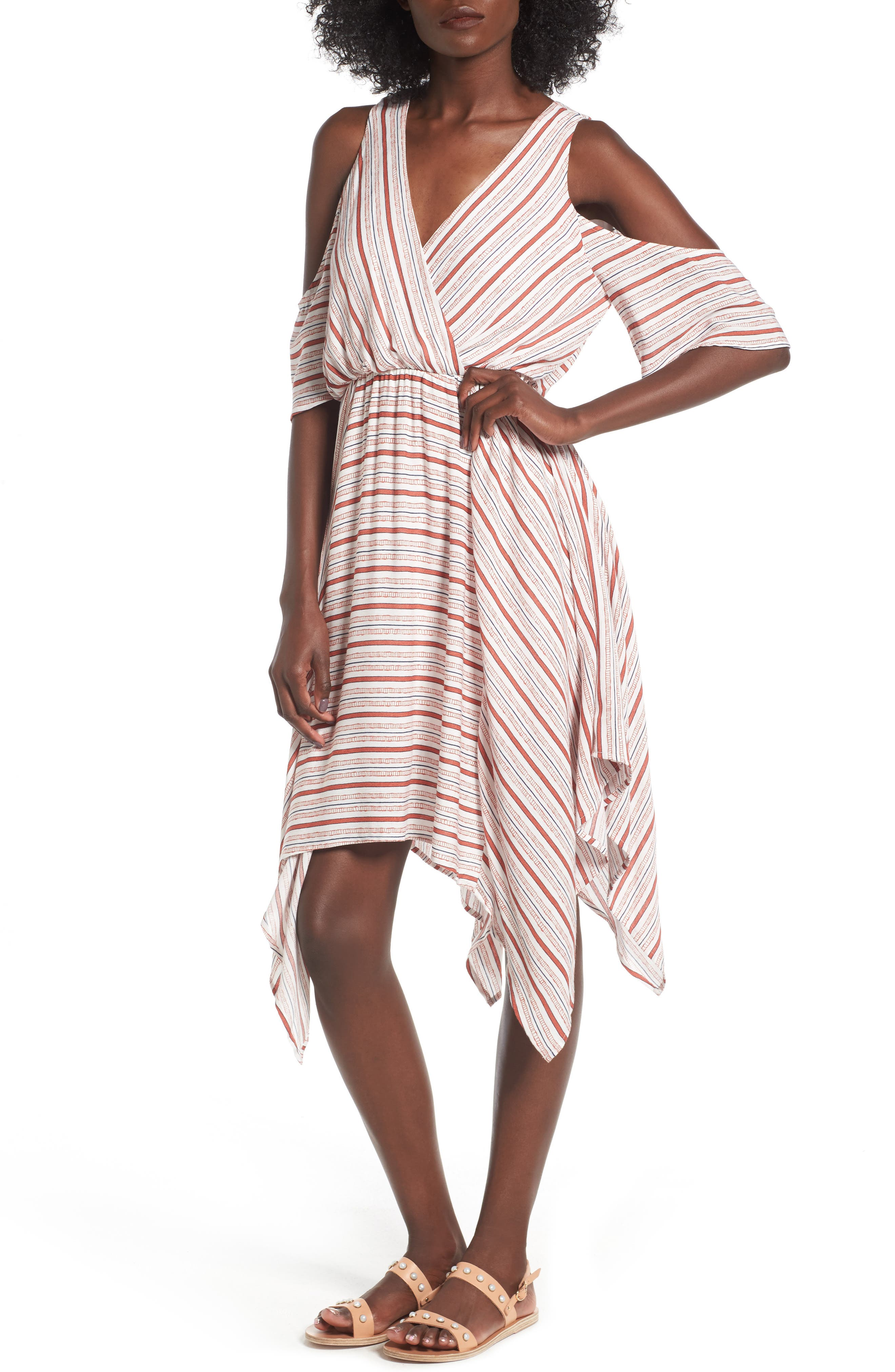 Dee Elly Surplice Cold Shoulder Dress