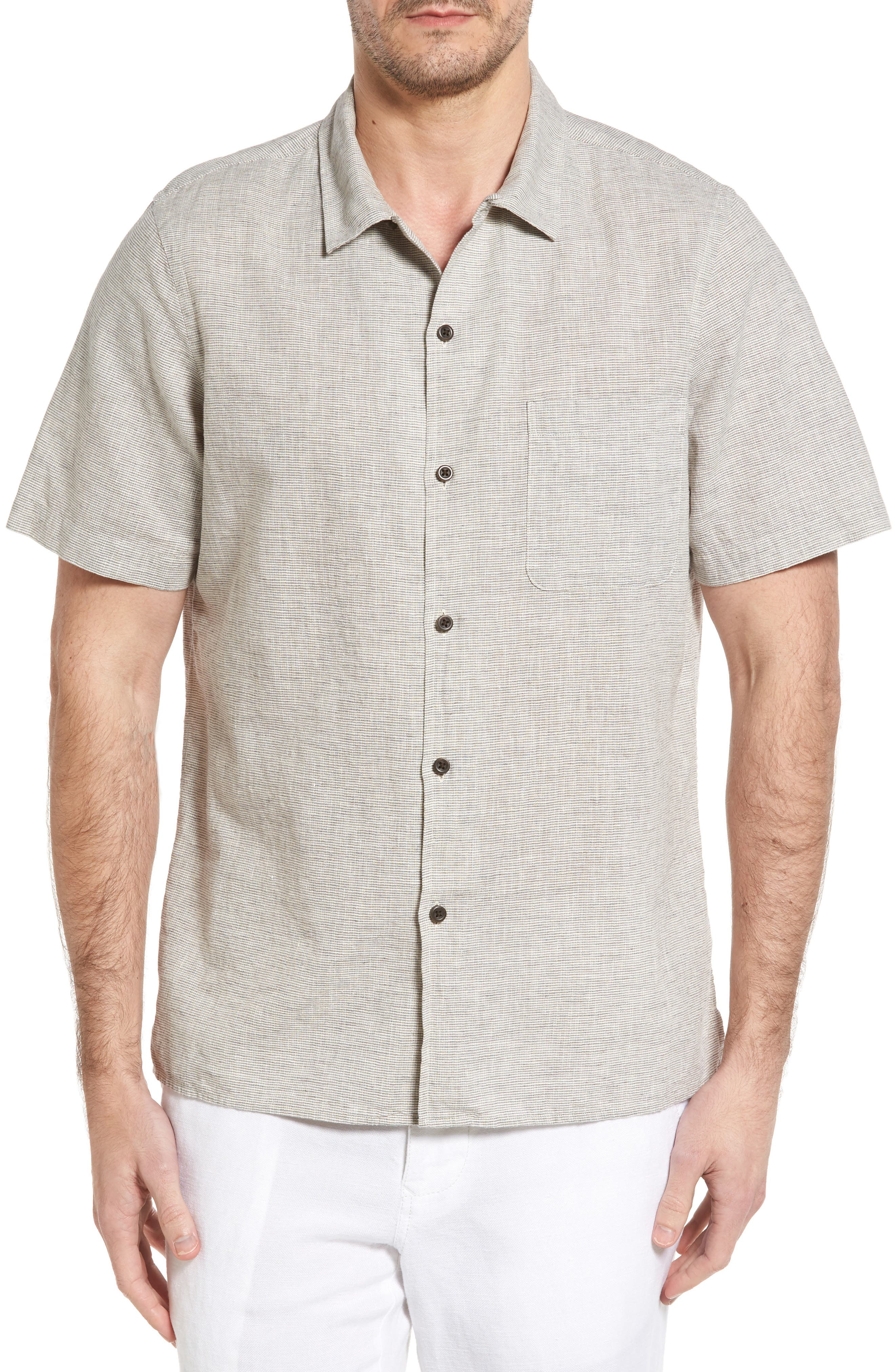 John W. Nordstrom® Regular Fit Linen Blend Camp Shirt