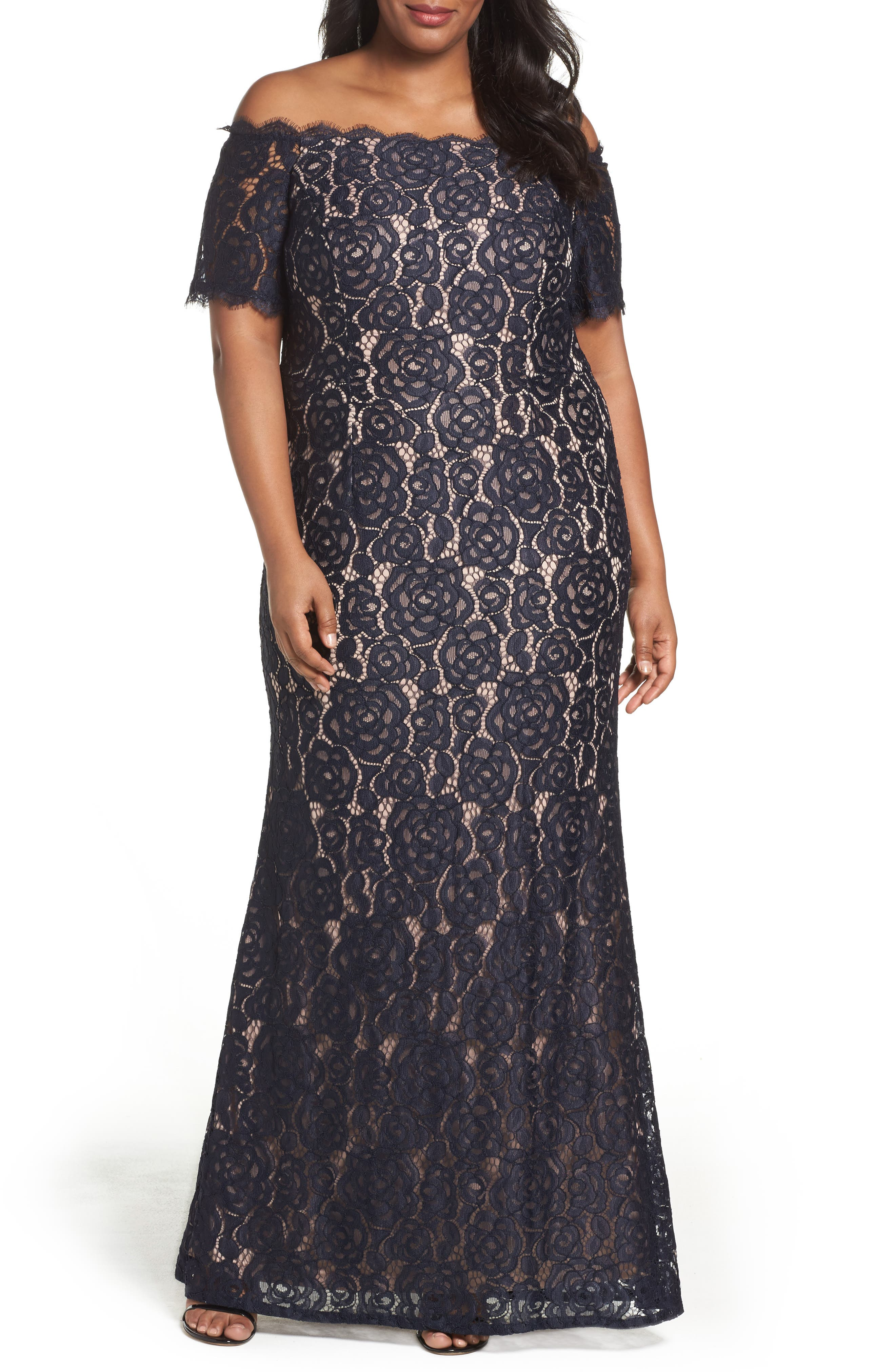 Adrianna Papell Lace Off the Shoulder Mermaid Gown (Plus Size)