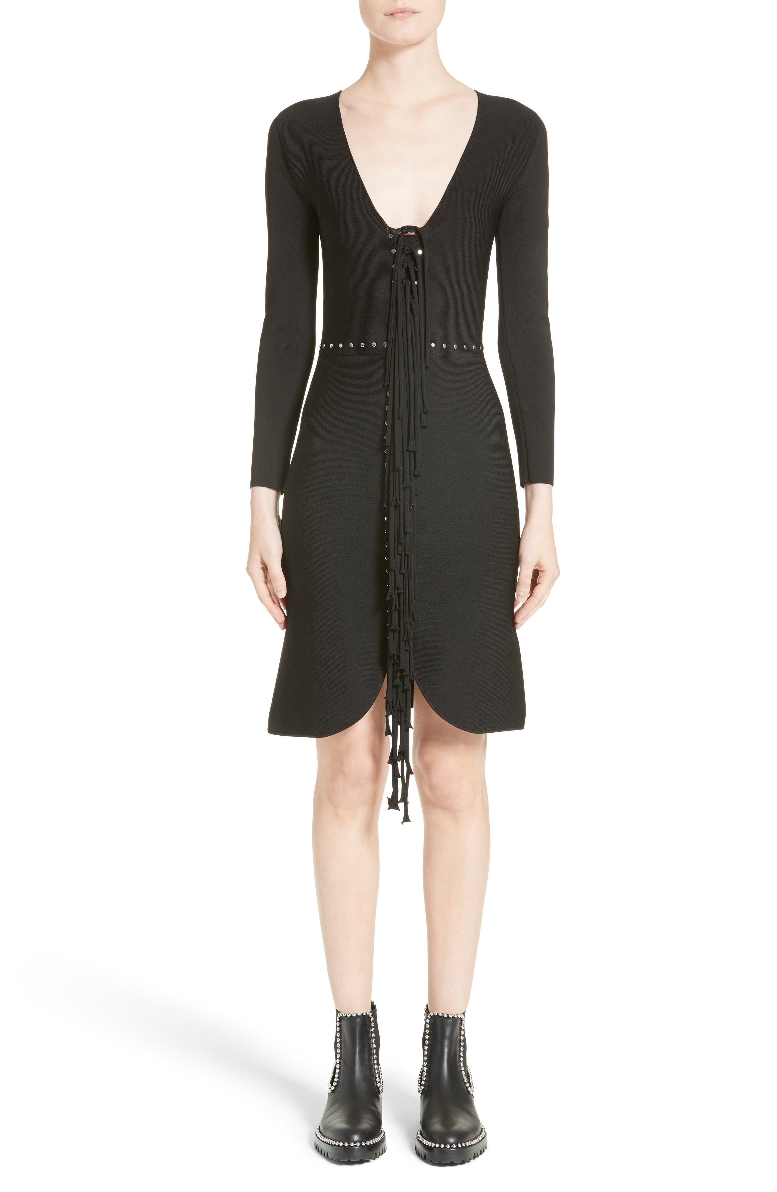 Alternate Image 1 Selected - Alexander Wang Knotted Fringe Knit Dress