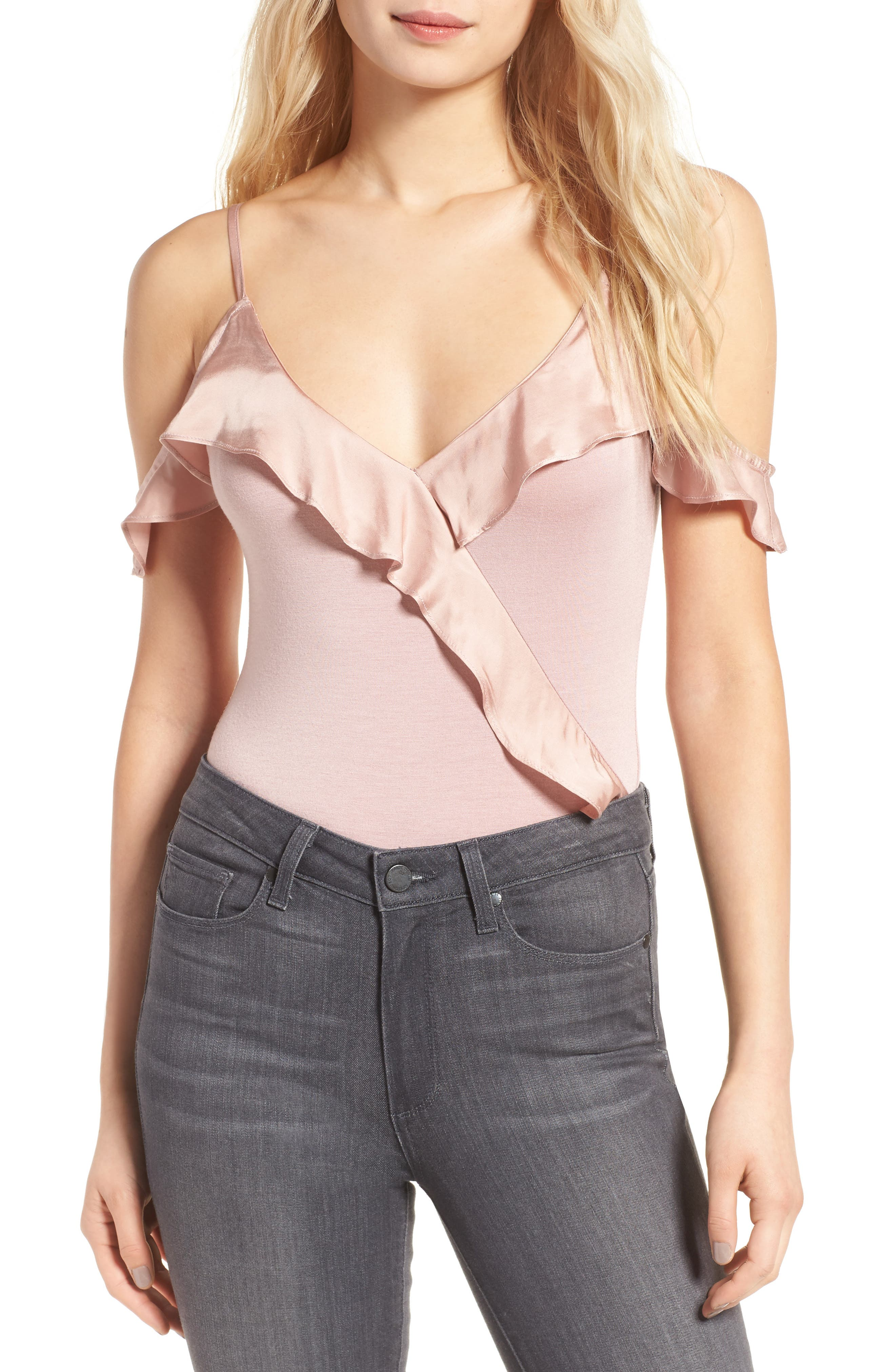 Willow & Clay Ruffle Off the Shoulder Bodysuit