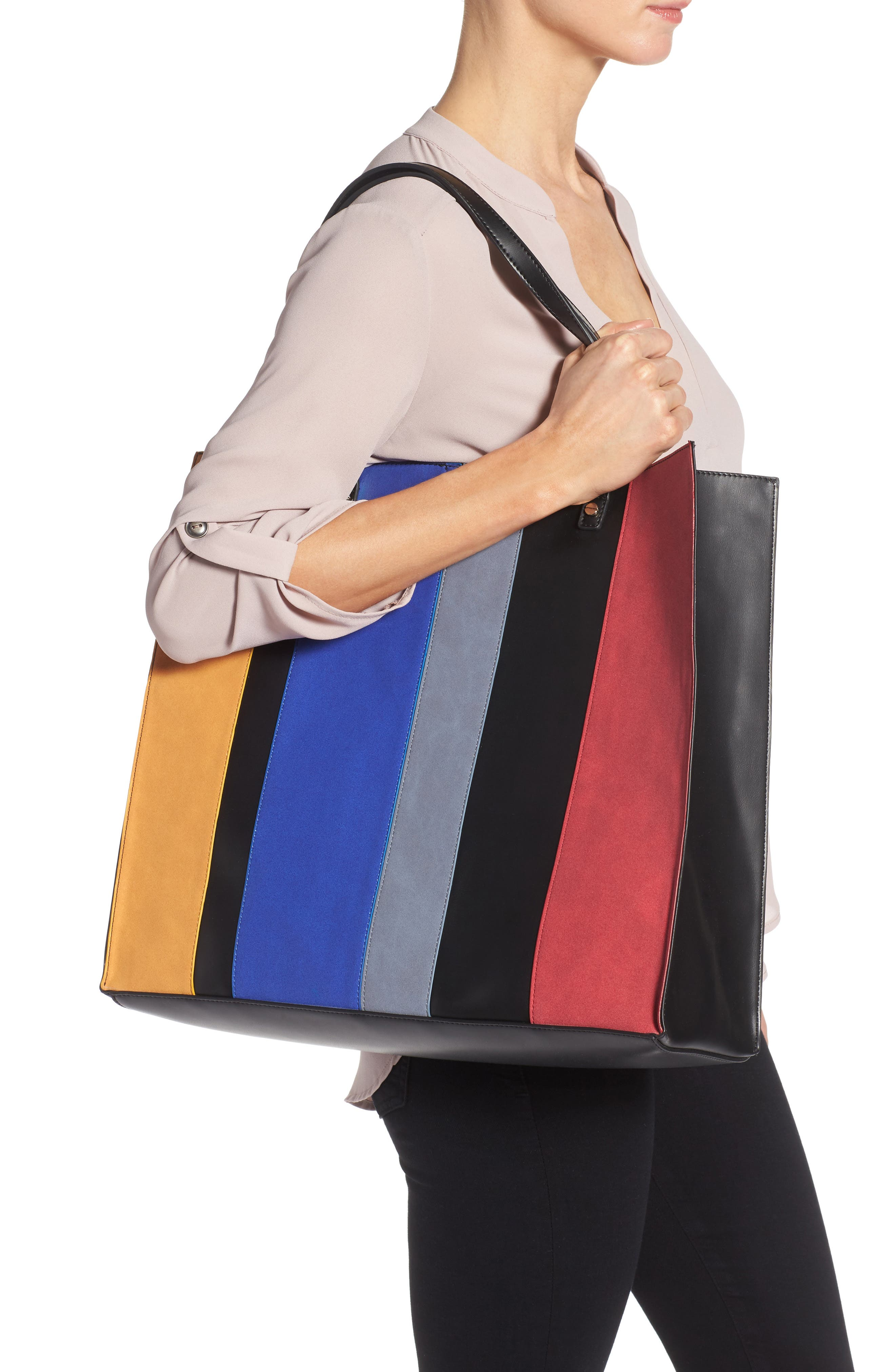 Alternate Image 2  - BP. Stripe Faux Leather Tote