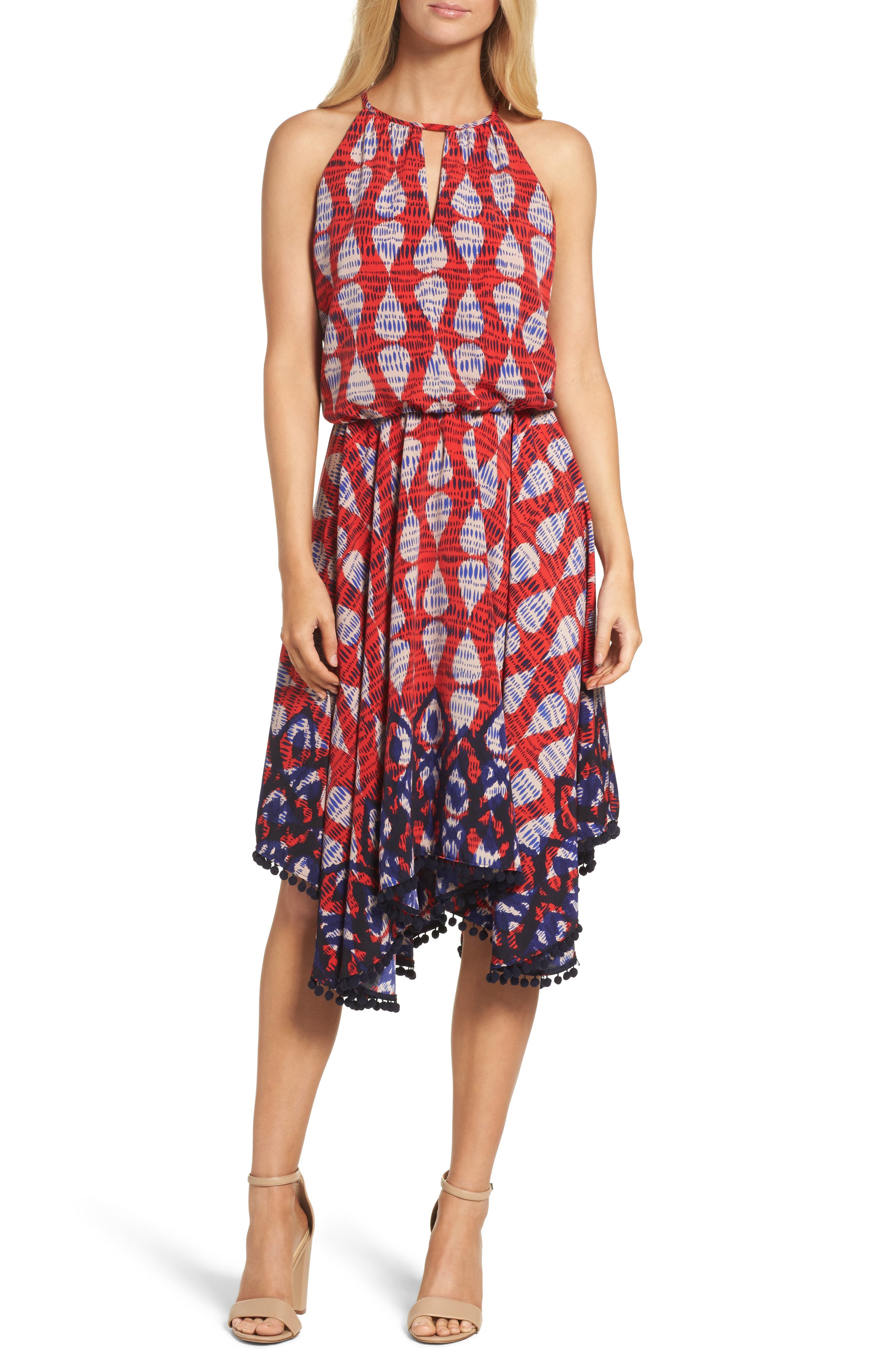 Maggy London Ikat Print Fit & Flare Dress