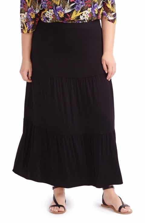 MICHEL STUDIO Tiered Maxi Skirt (Plus Size)