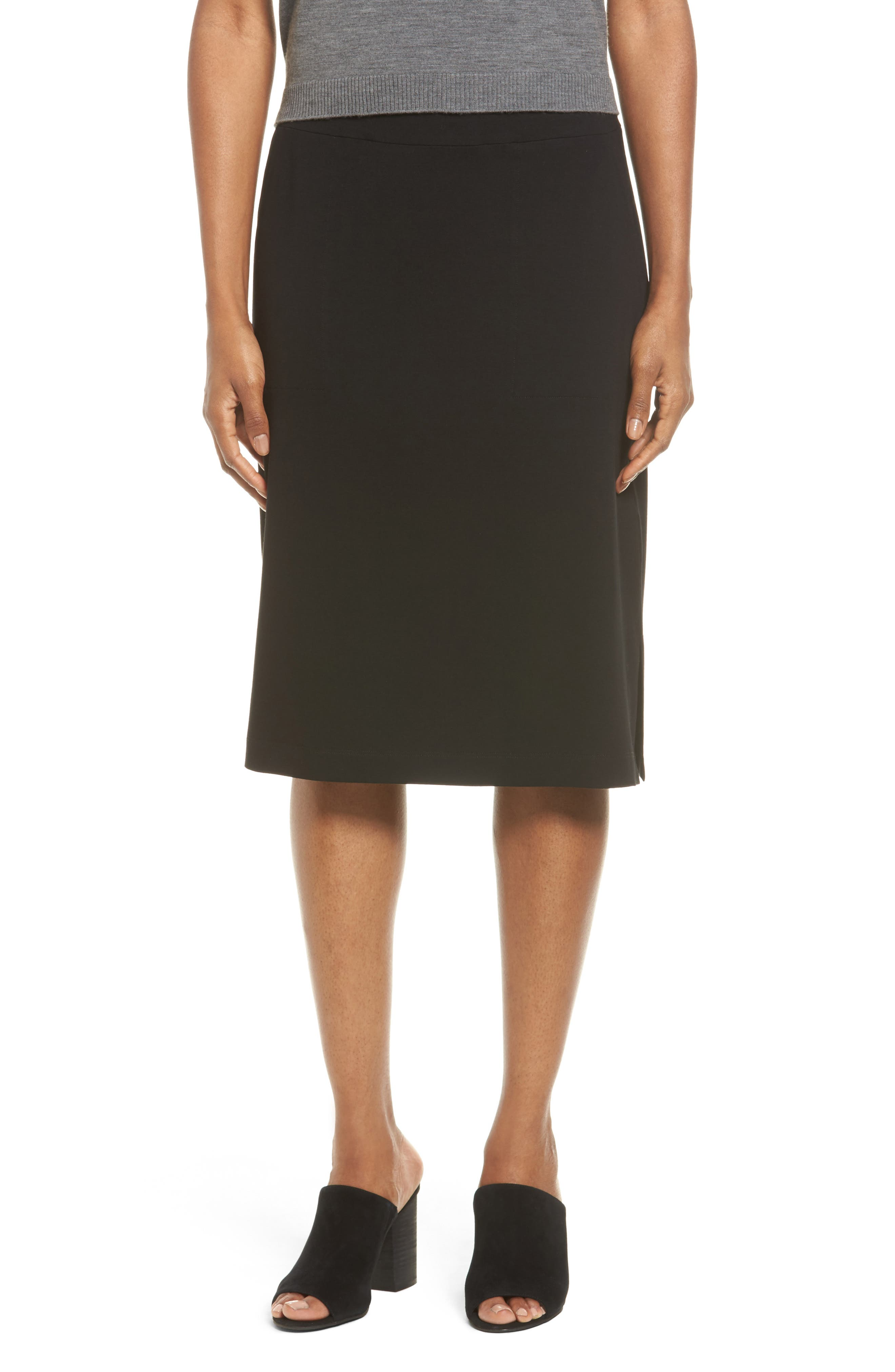 Eileen Fisher Side Slit Jersey Skirt