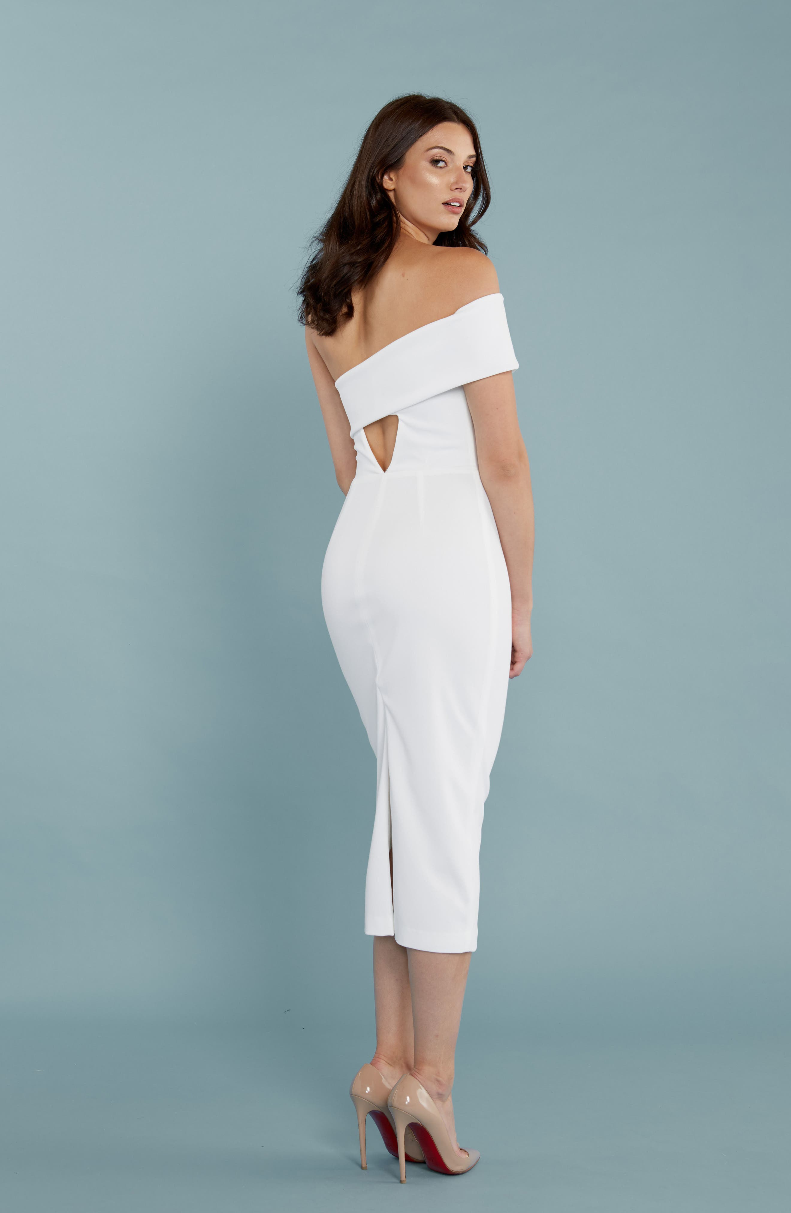 Alternate Image 2  - Katie May One-Shoulder Midi Sheath Dress