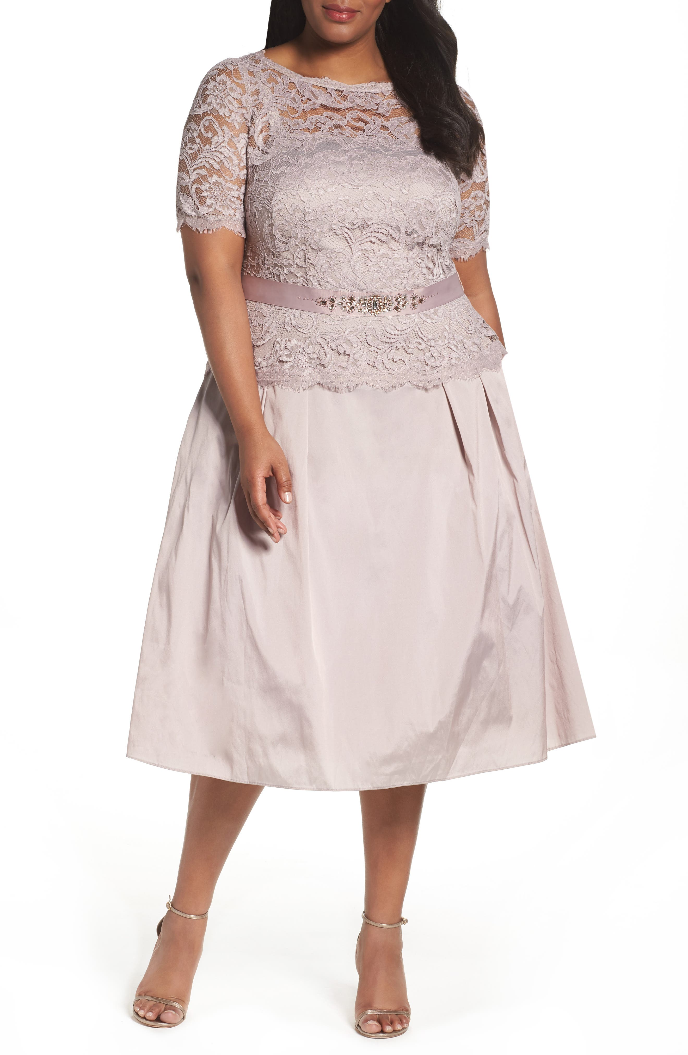 Adrianna Papell Lace & Taffeta Party Dress (Plus Size)
