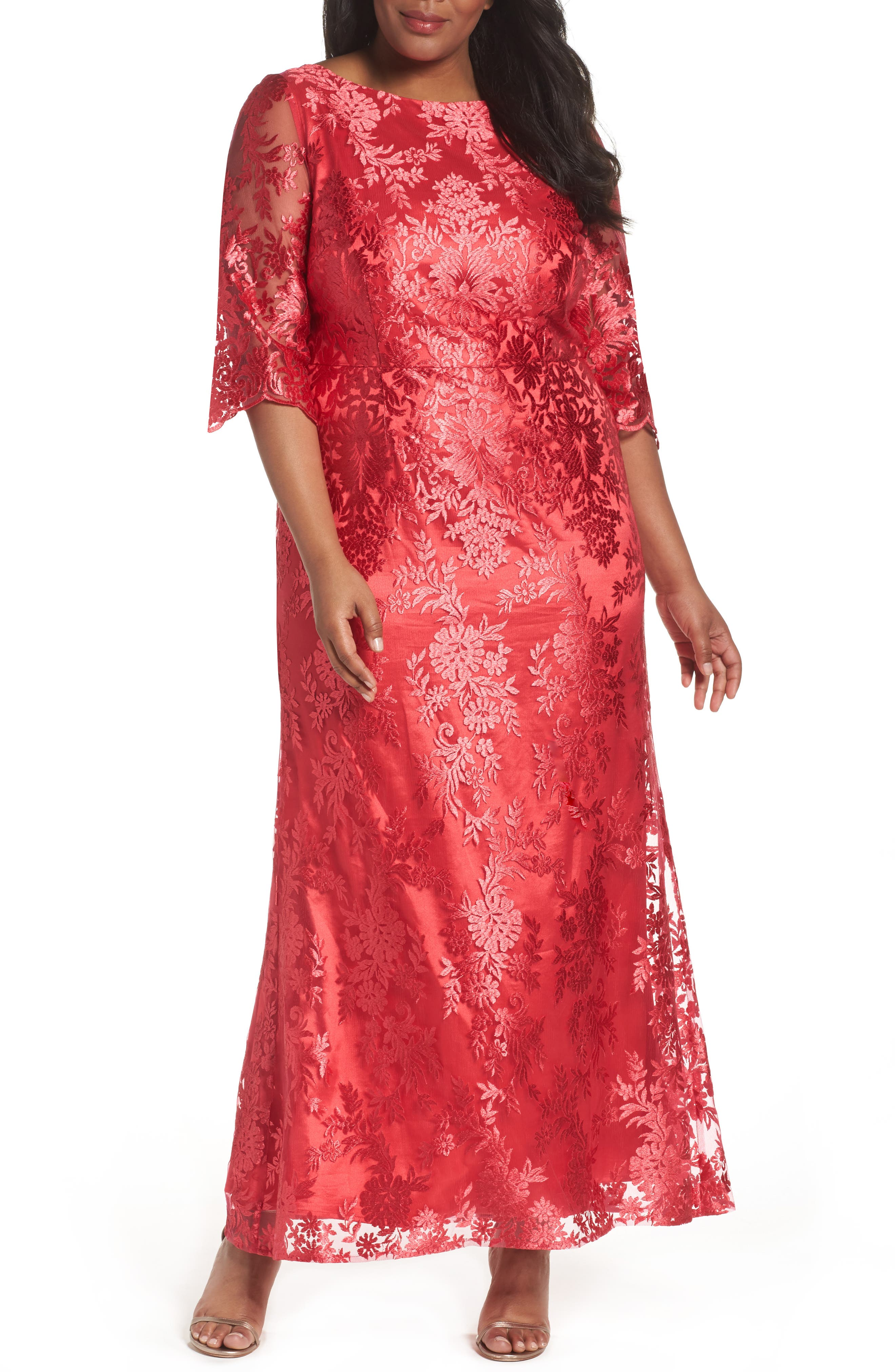 Brianna Embroidered Bateau Neck Gown (Plus Size)