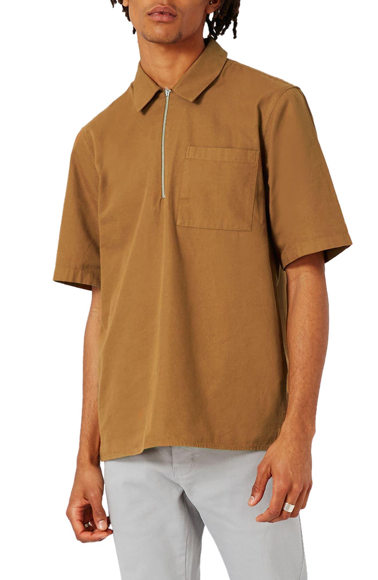 Topman Half Zip Work Shirt