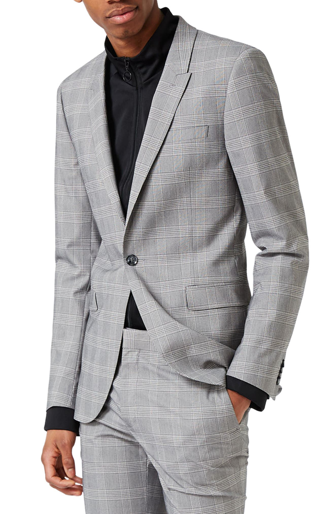 Topman Ultra Skinny Fit Check Suit Jacket