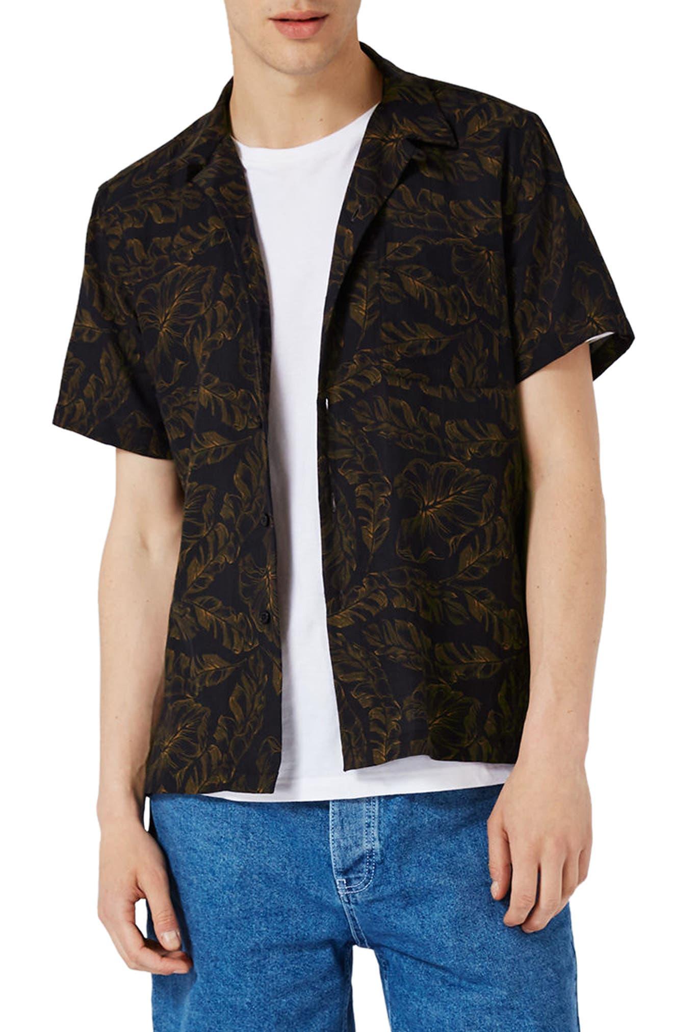 Topman Banana Leaf Print Shirt