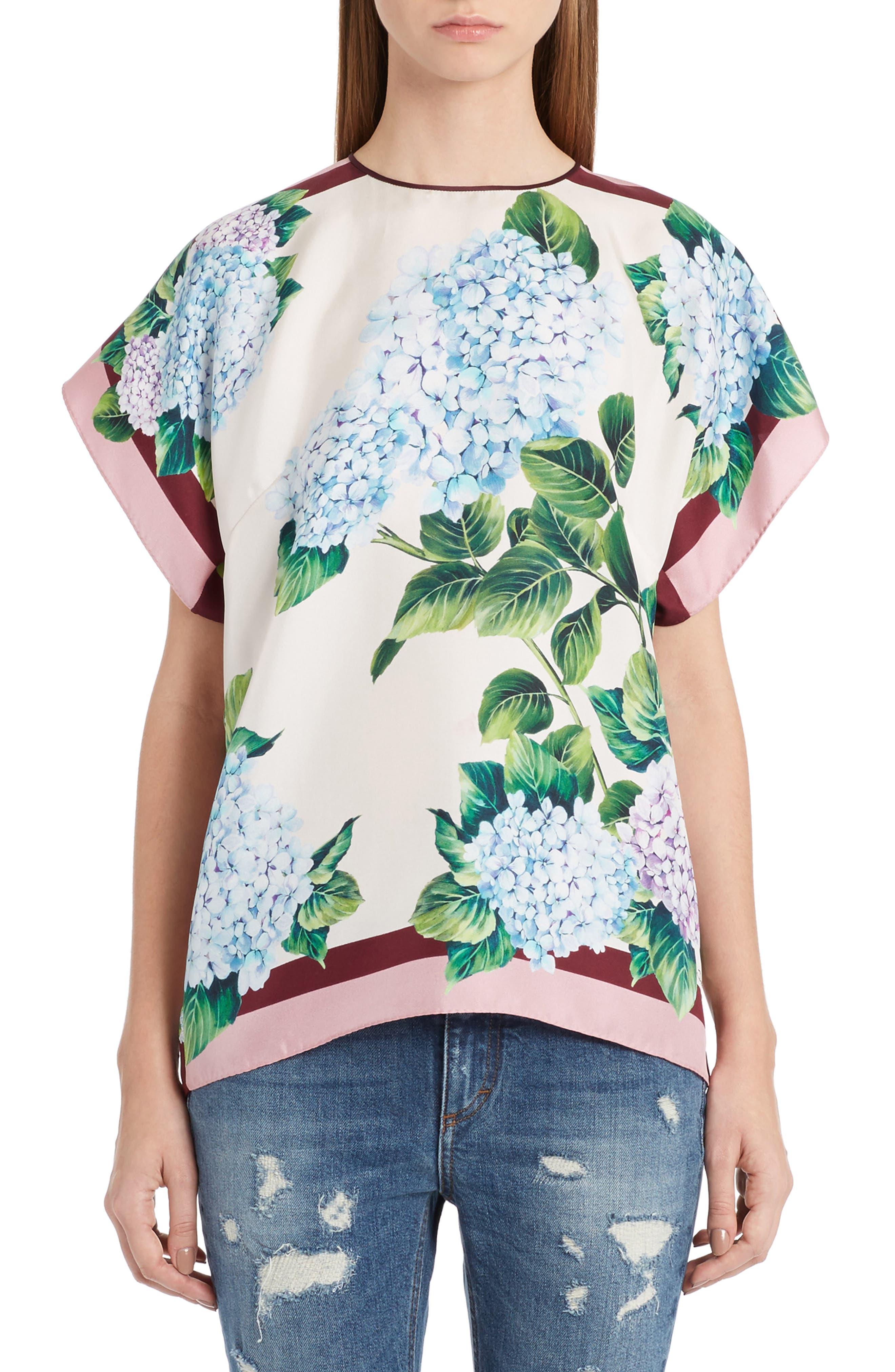 Dolce&Gabbana Hydrangea Print Silk Top