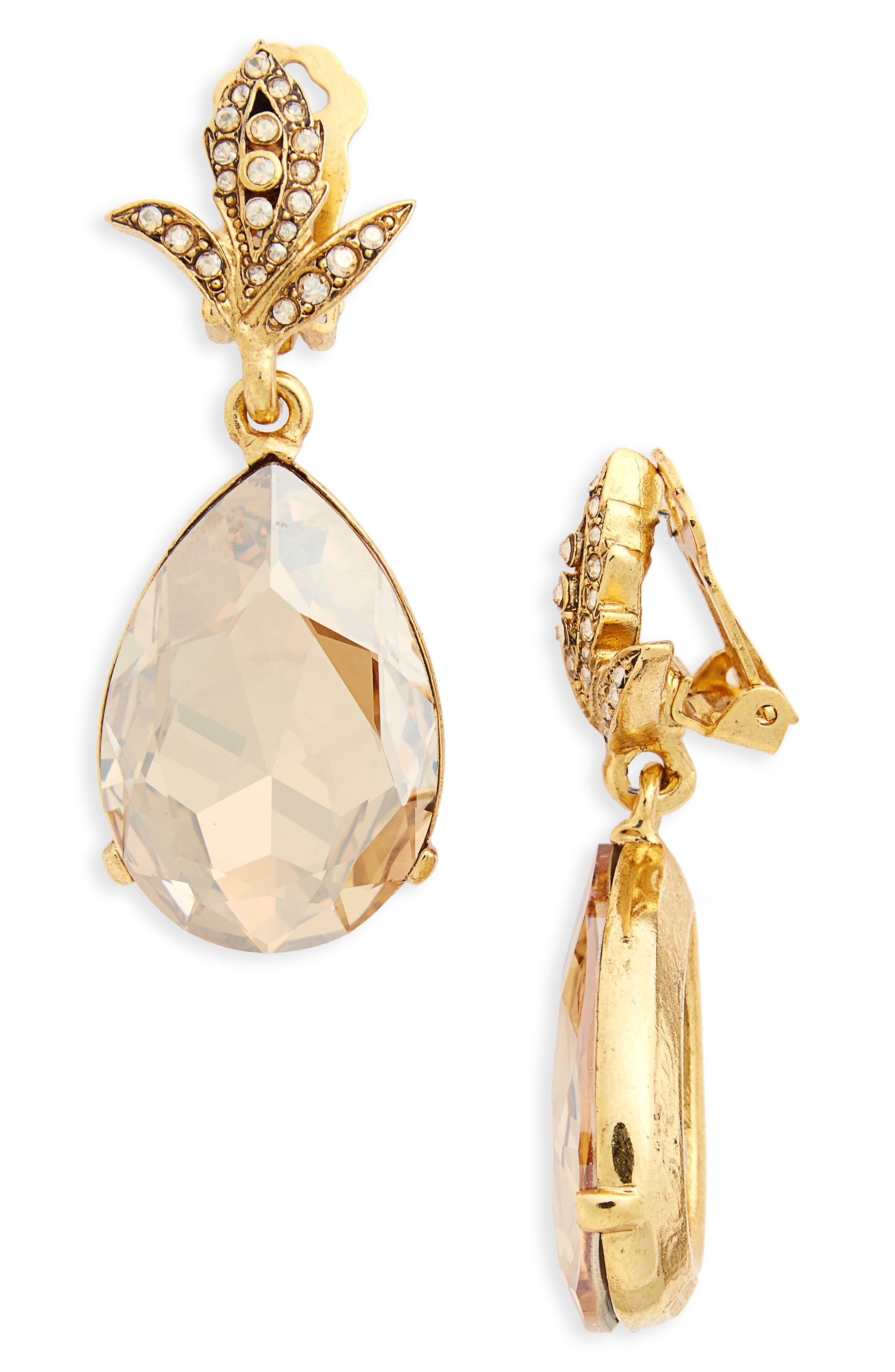 Oscar de la Renta Crystal Teardrop Clip Earrings