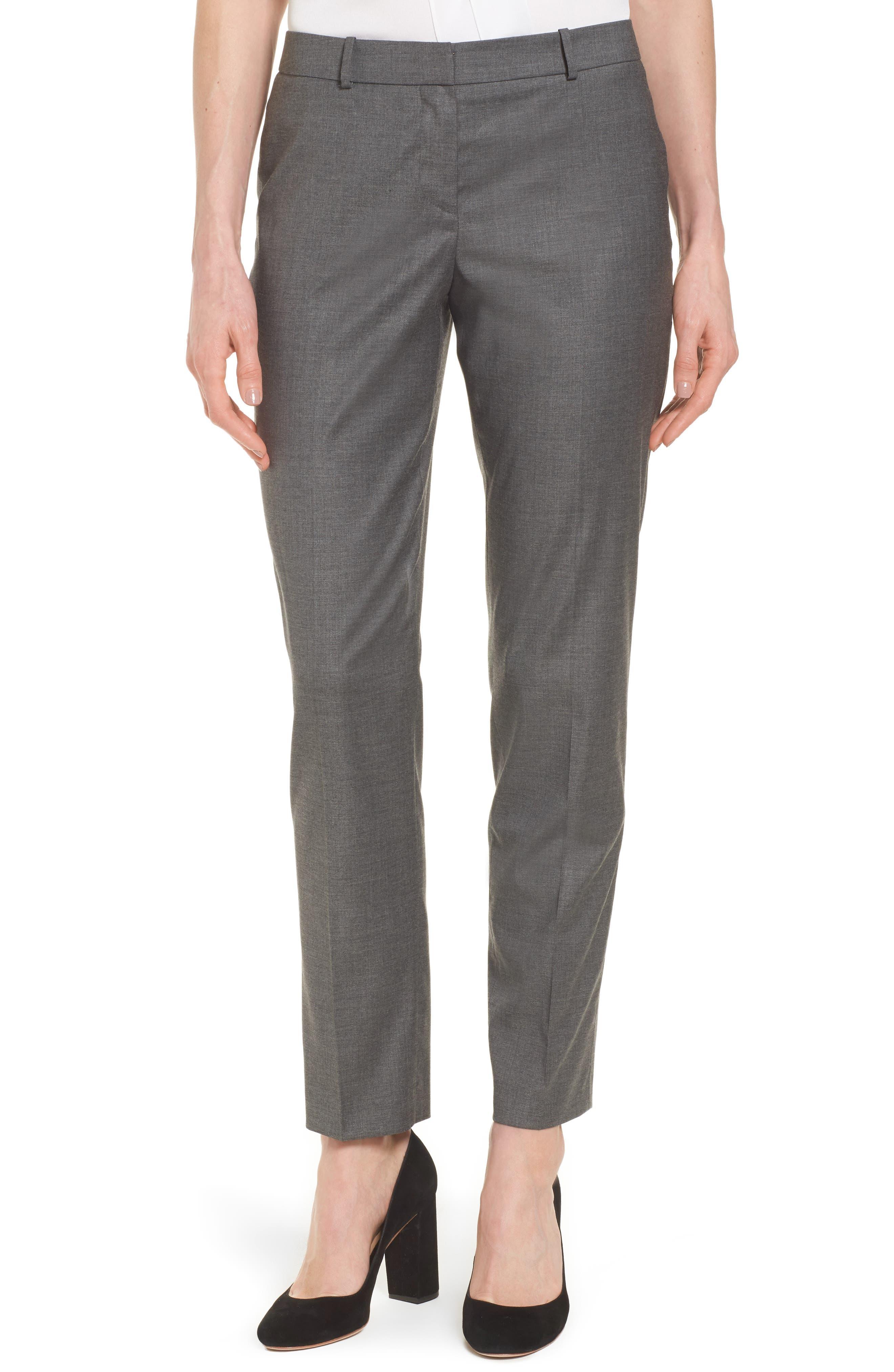 BOSS Tiluna Slim Wool Blend Ankle Trousers