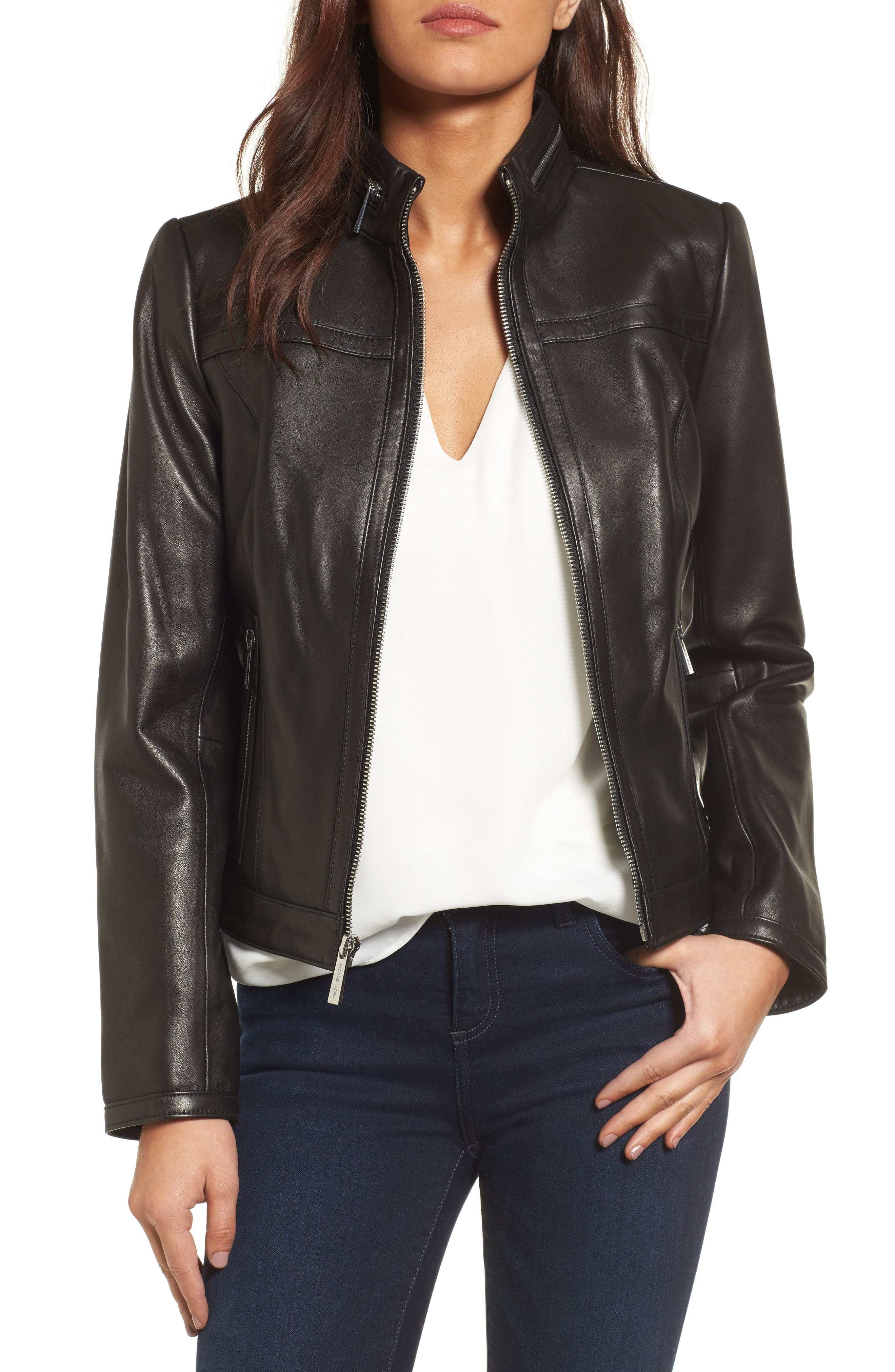 MICHAEL Michael Kors Leather Racer Jacket