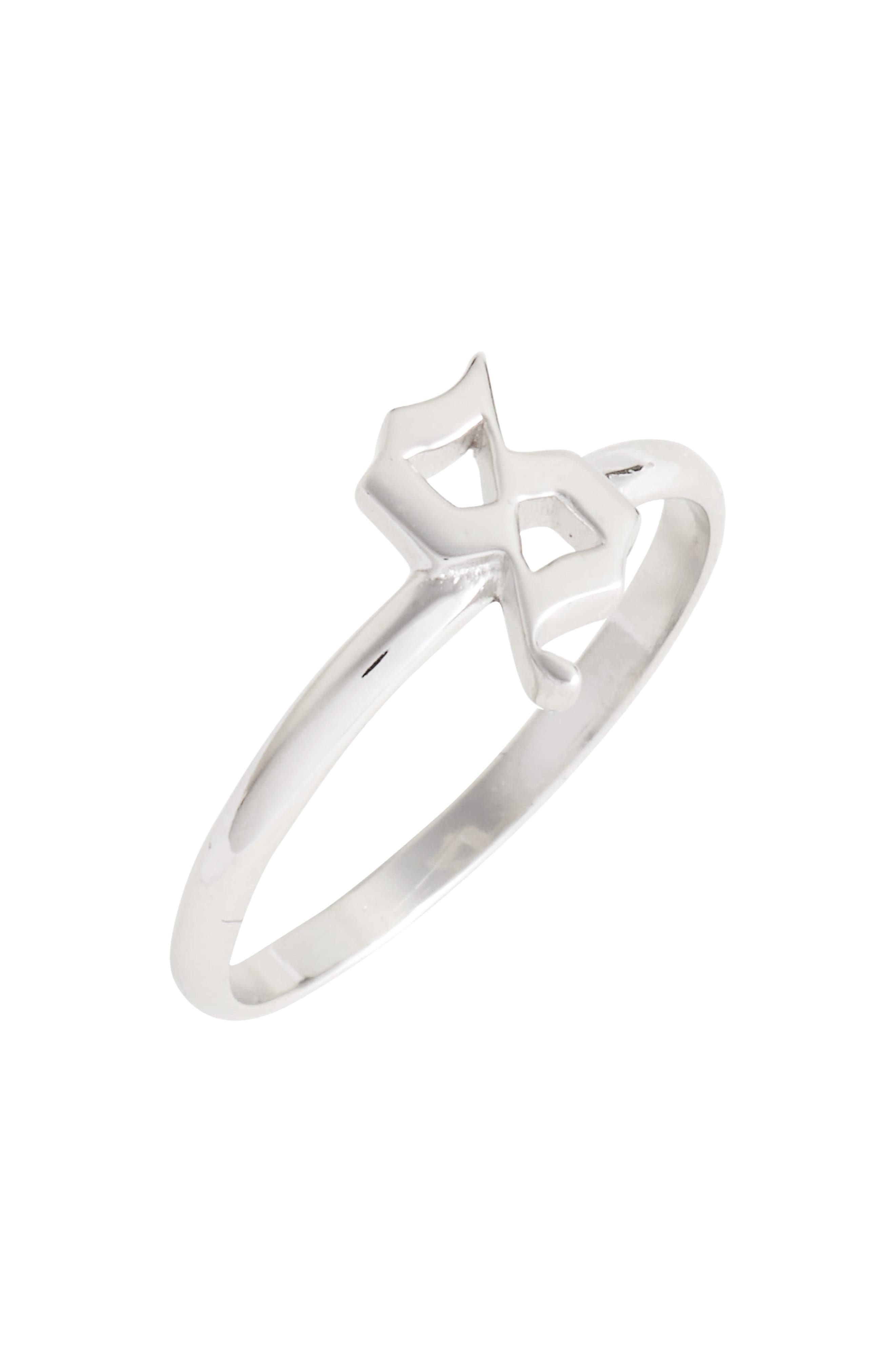 Argento Vivo Gothic Initial Ring