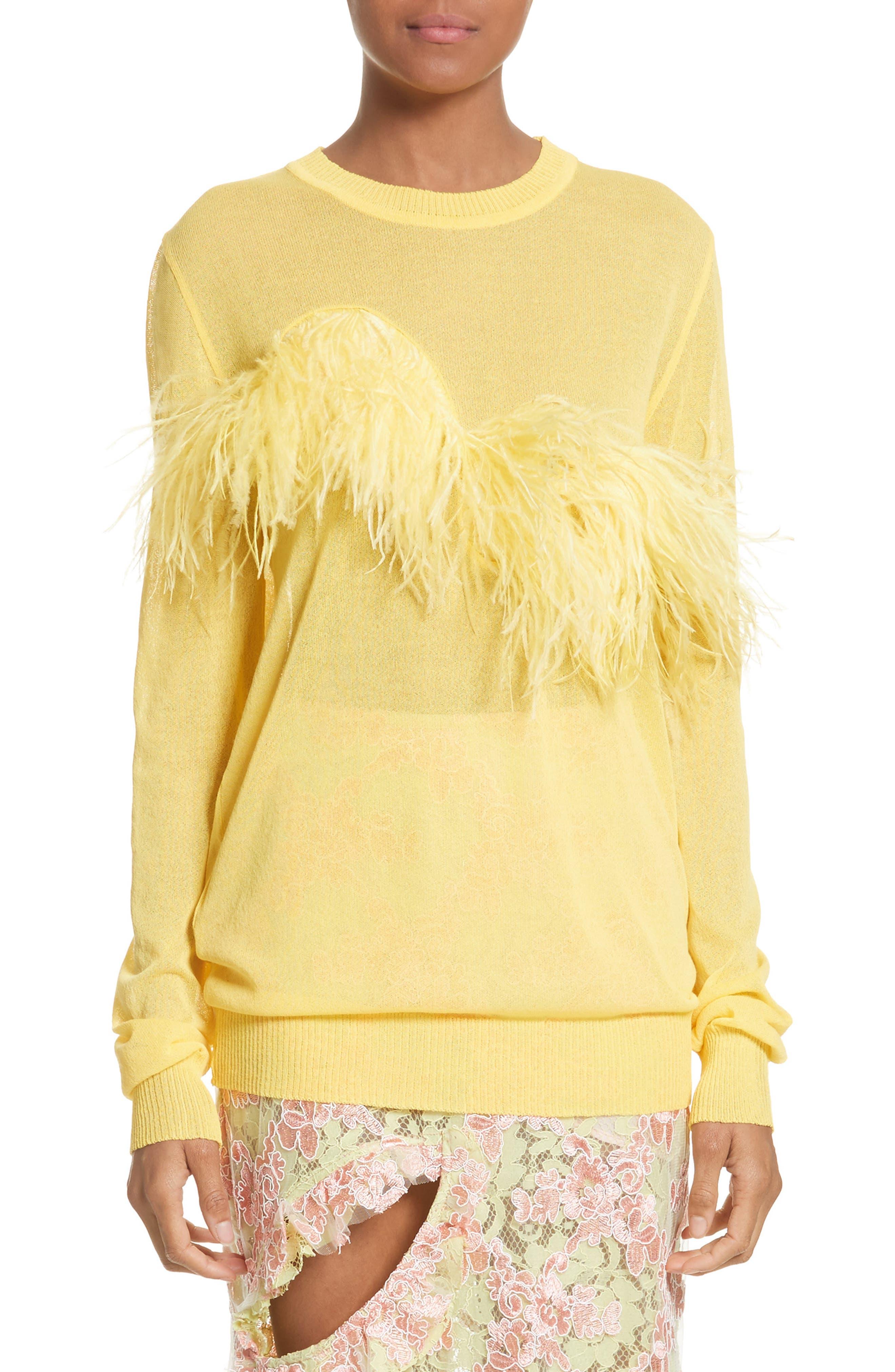 Marques Almeida Ostrich Feather Trim Sweater Nordstrom
