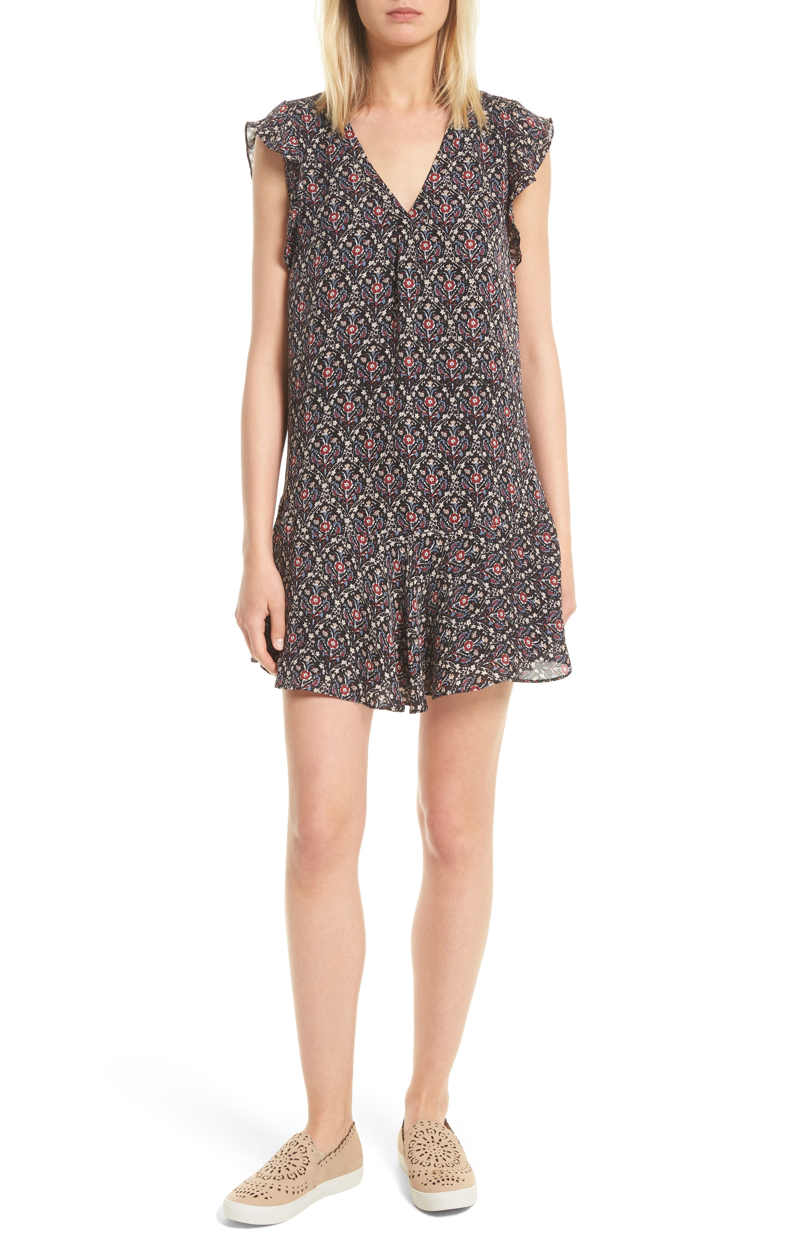 Joie Almarie B Floral Silk Dress