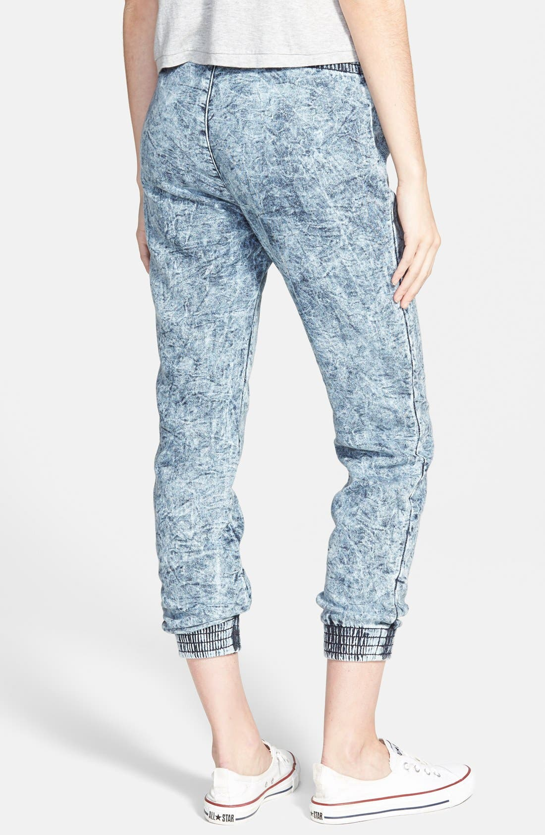Alternate Image 2  - SP Black Destroyed Denim Jogger Pants (Juniors)