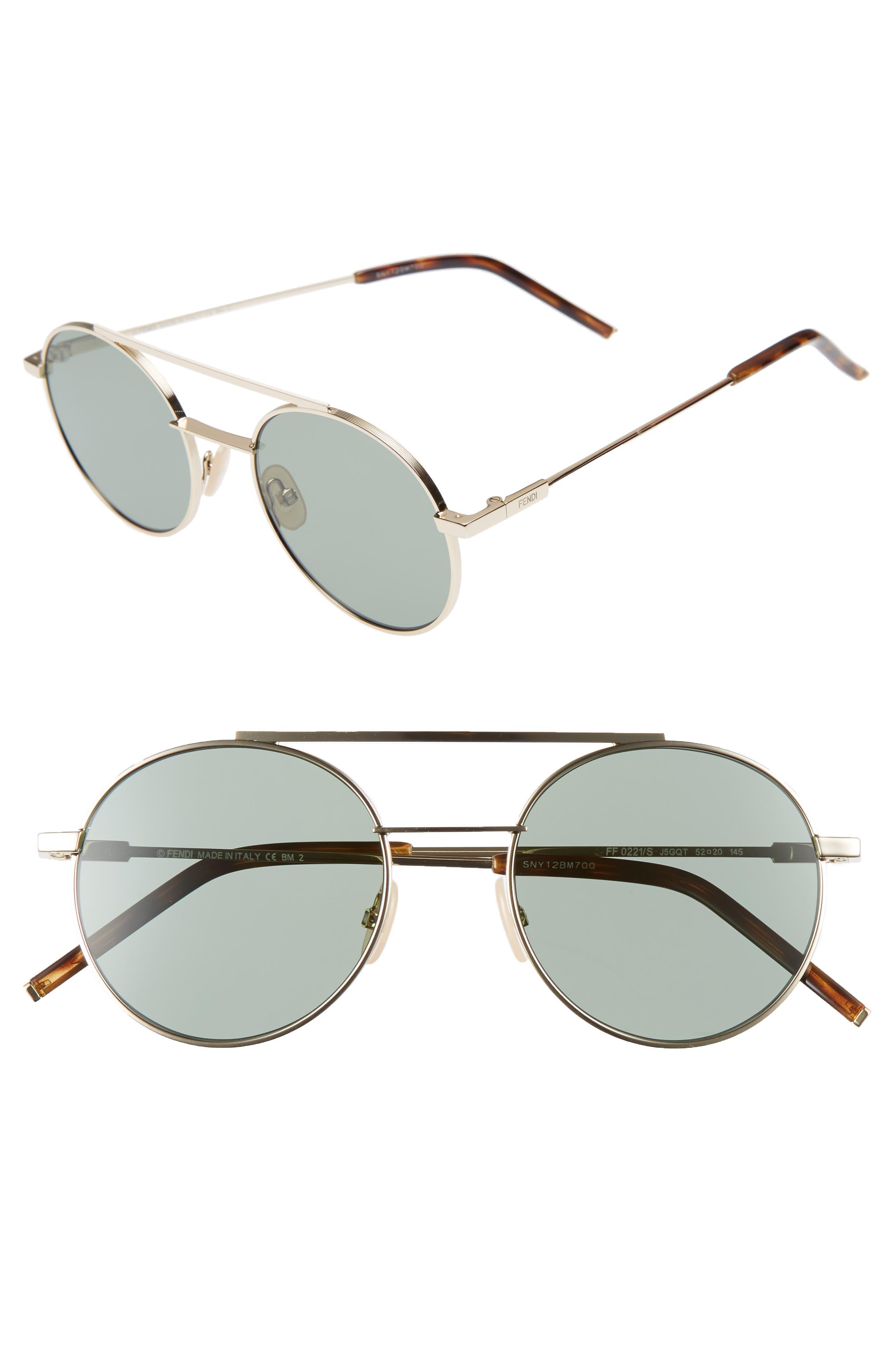Fendi 52mm Round Sunglasses