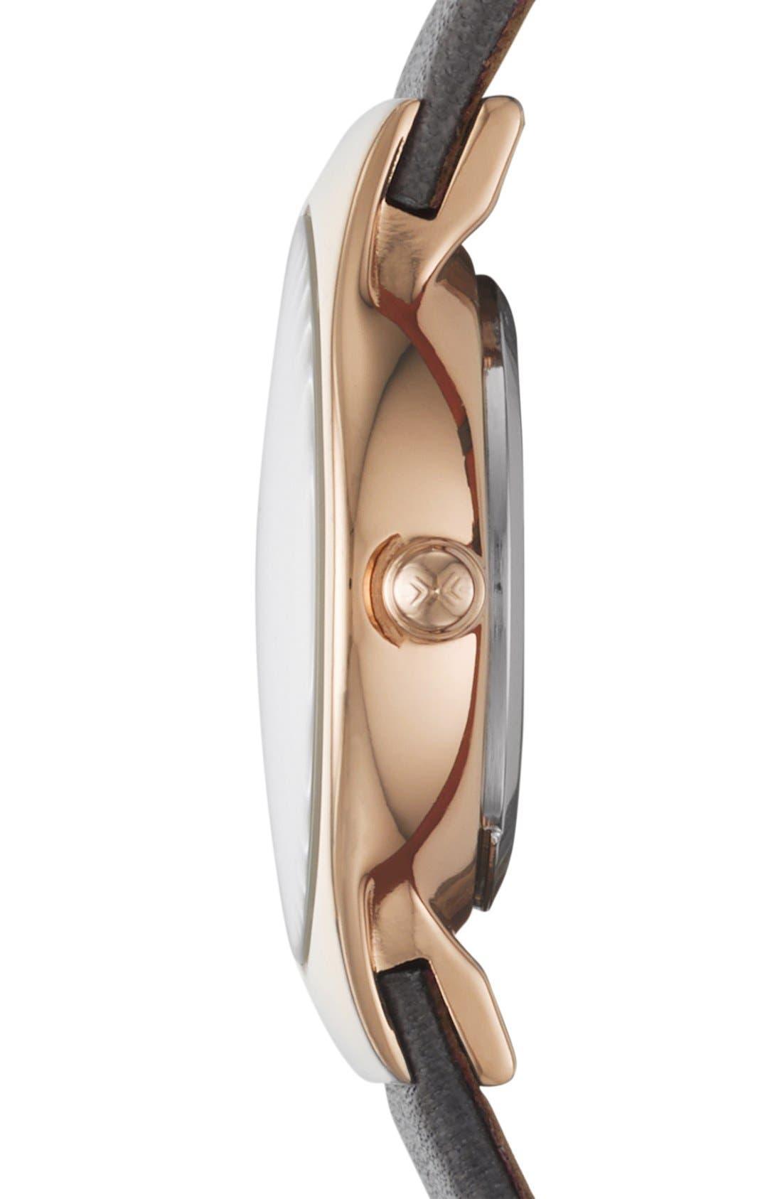 Alternate Image 3  - Skagen 'Grenen' Crystal Marker Leather Strap Watch, 24mm