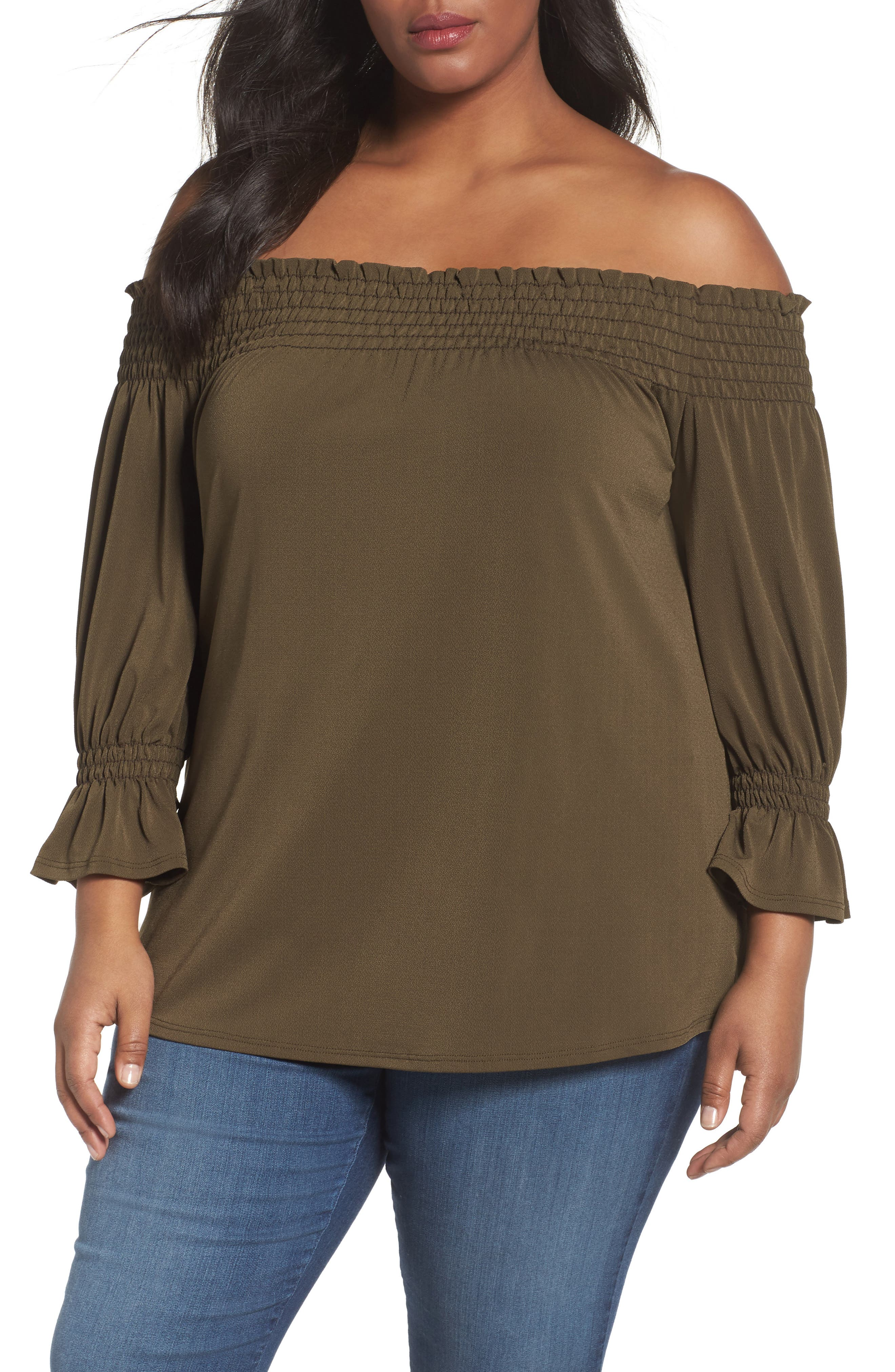 Sejour Smocked Off the Shoulder Top (Plus Size)