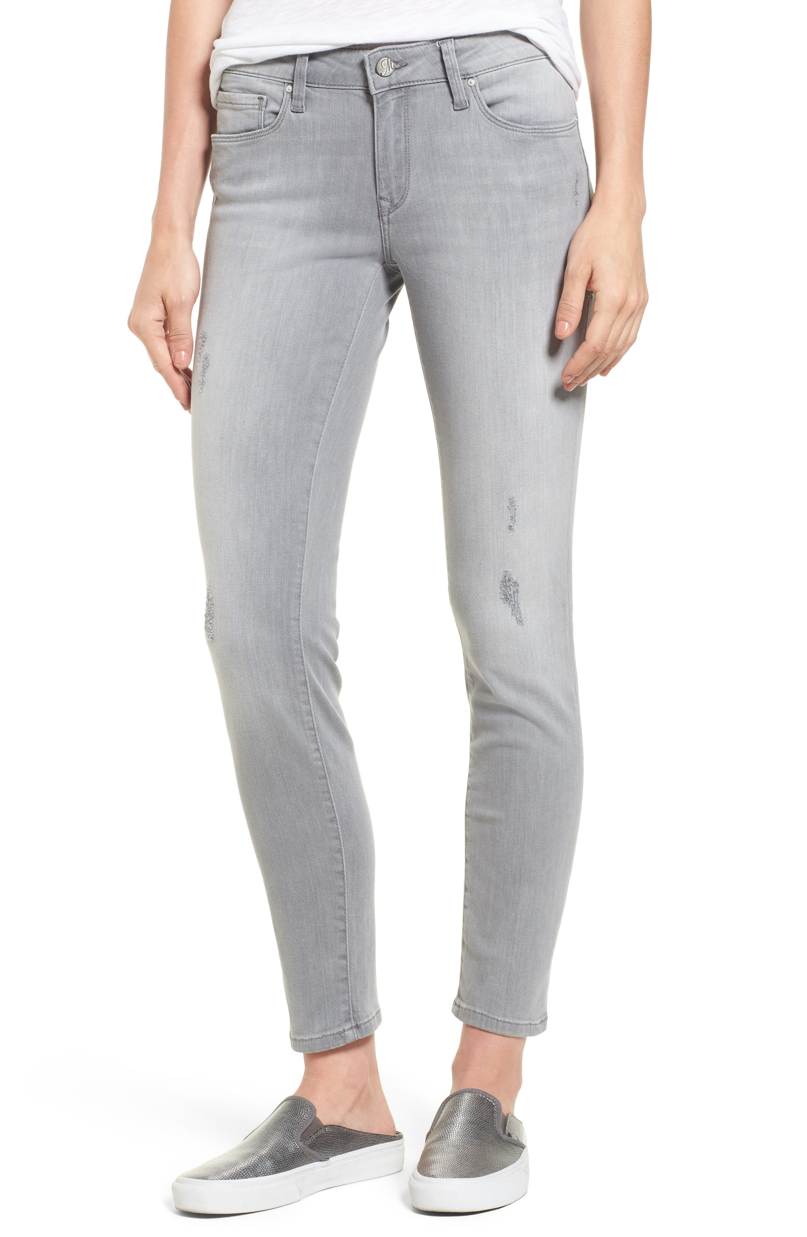 Mavi Jeans Adriana Stretch Skinny Ankle Jeans (Light Grey Tribecca)