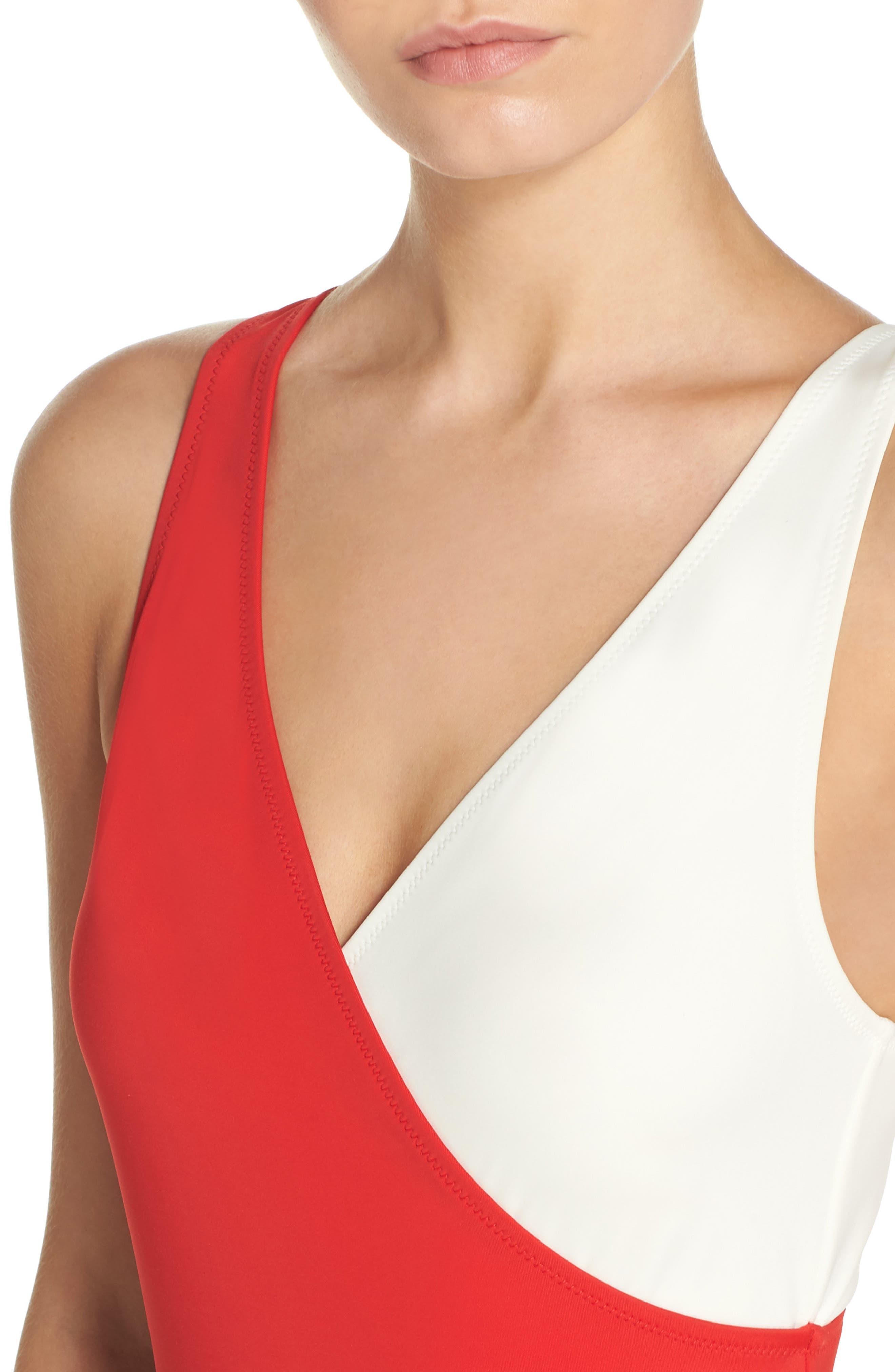 Alternate Image 4  - Solid & Striped Ballerina One-Piece Swimsuit