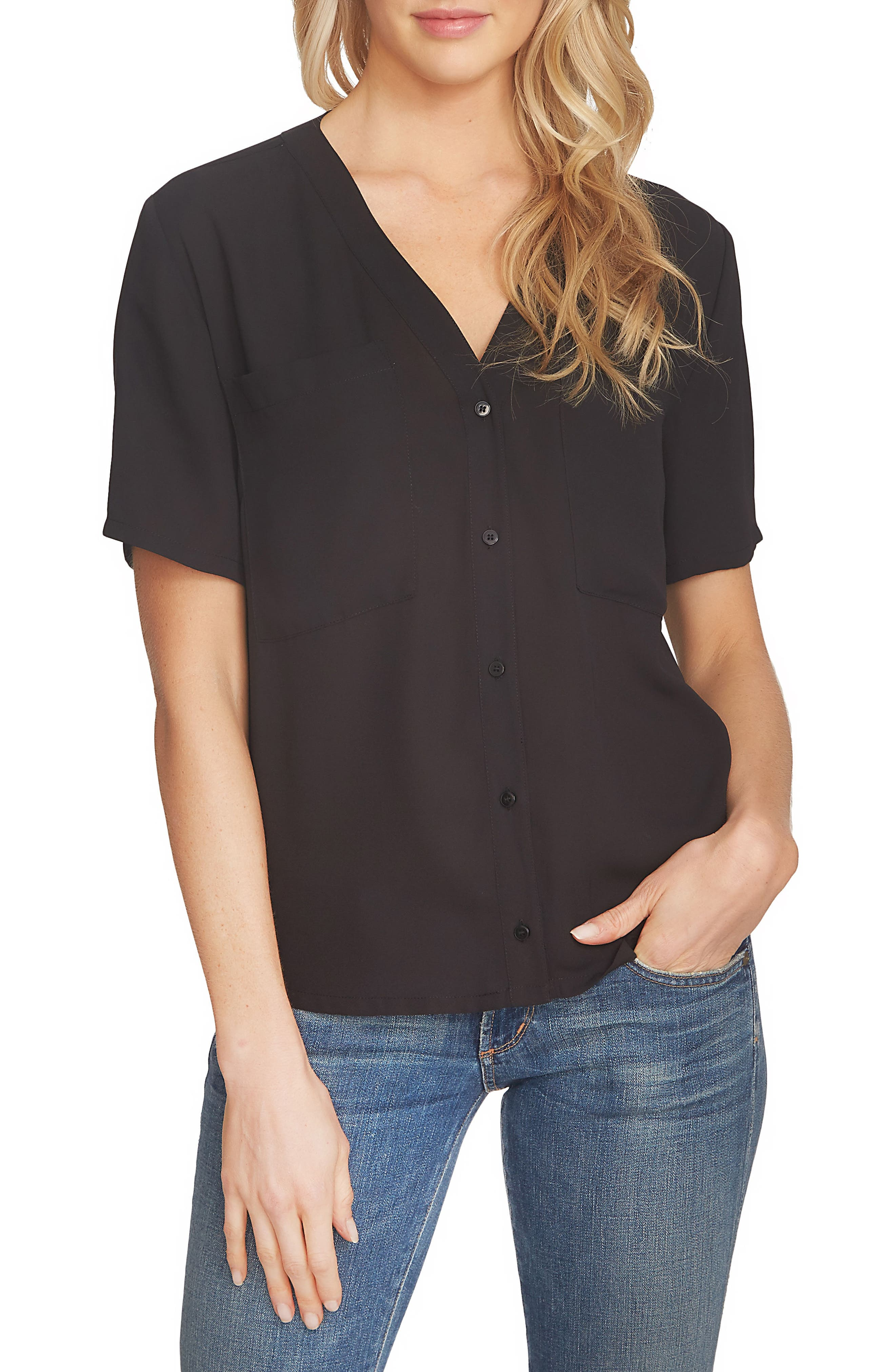 Alternate Image 1 Selected - 1.STATE V-Neck Button Front Blouse