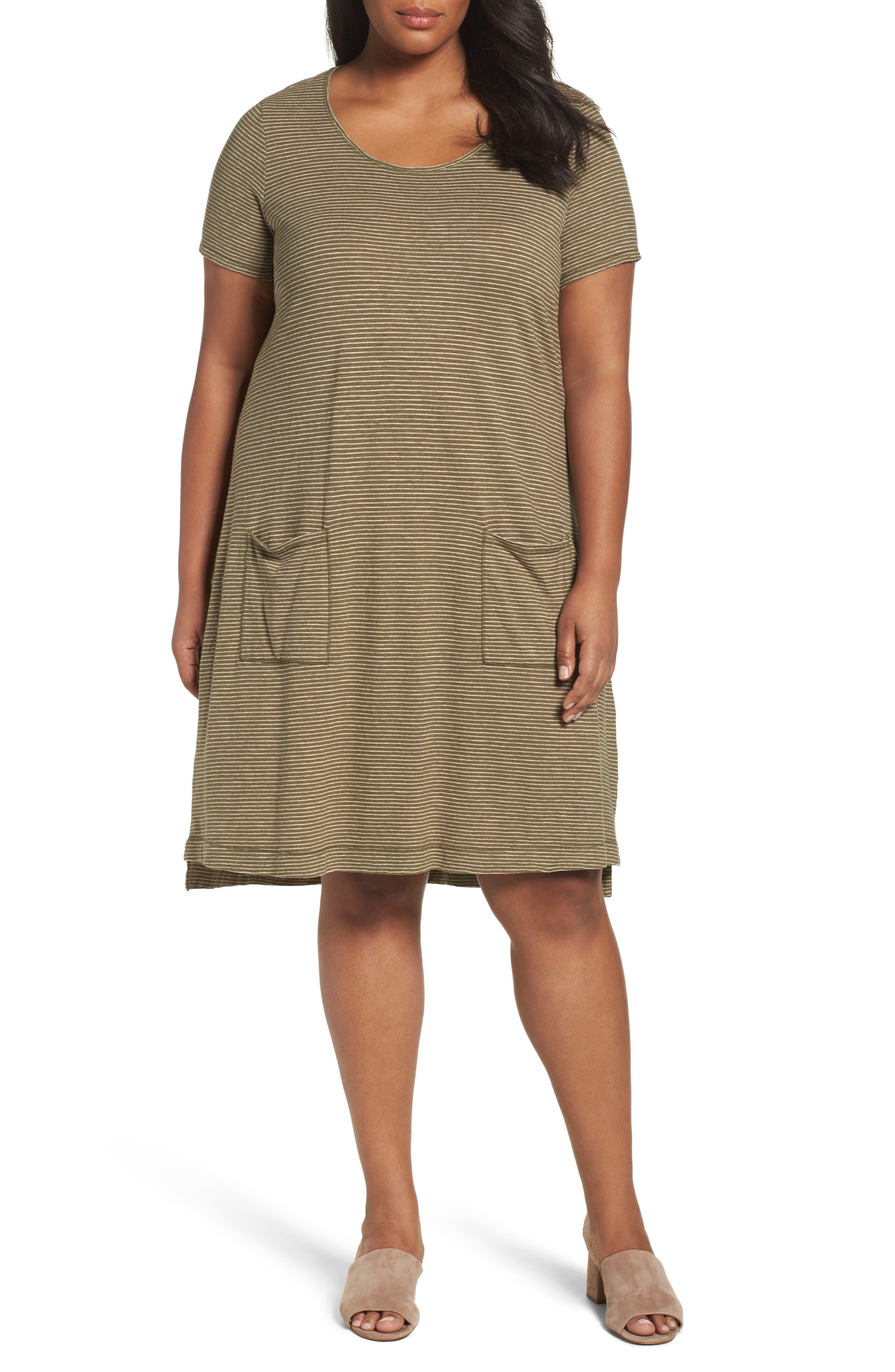 Eileen Fisher Hemp Blend Stripe T-Shirt Dress (Plus Size)