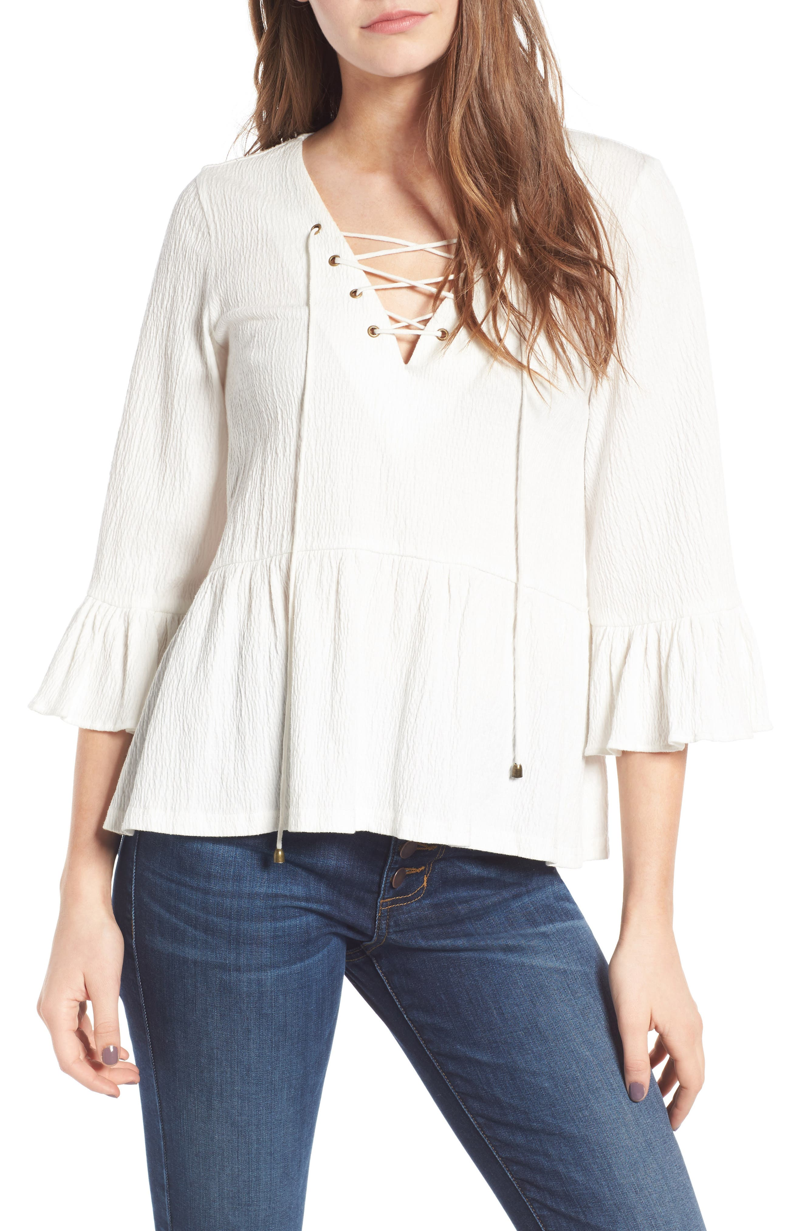 MOON RIVER Lace-Up Bell Sleeve Top