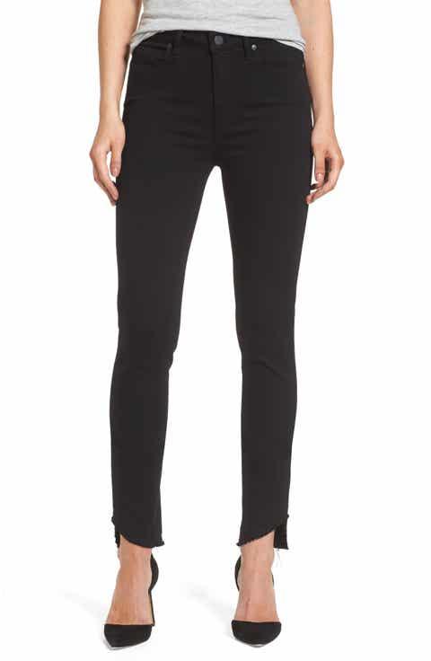 PAIGE Transcend Hoxton High Waist Undone Hem Skinny Jeans (Black Shadow) - Black Wash Skinny Jeans For Women Nordstrom