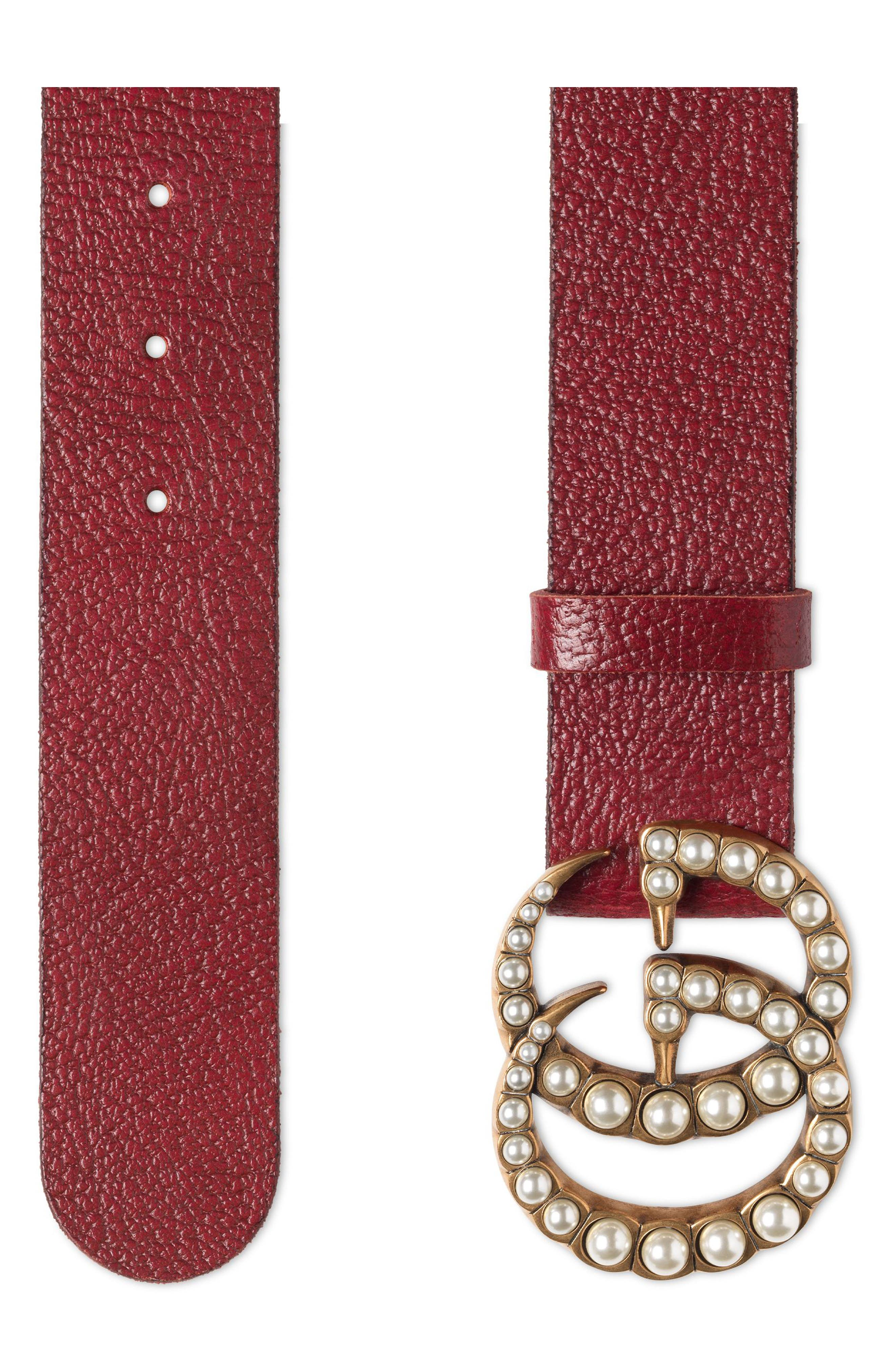 Alternate Image 2  - Gucci Imitation Pearl Double-G Leather Belt