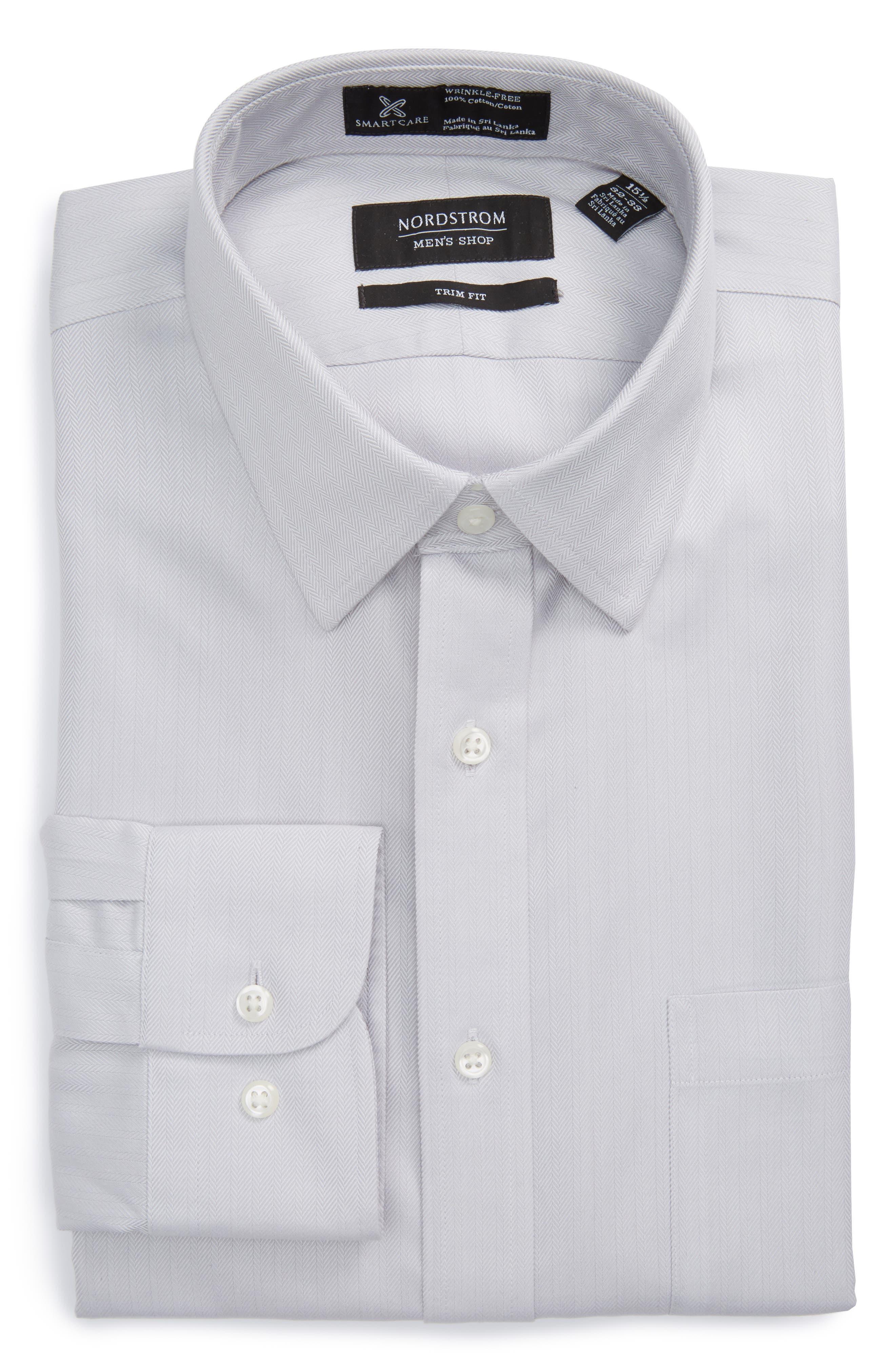 NORDSTROM MEN'S SHOP Smartcare™ Trim Fit Herringbone Dress