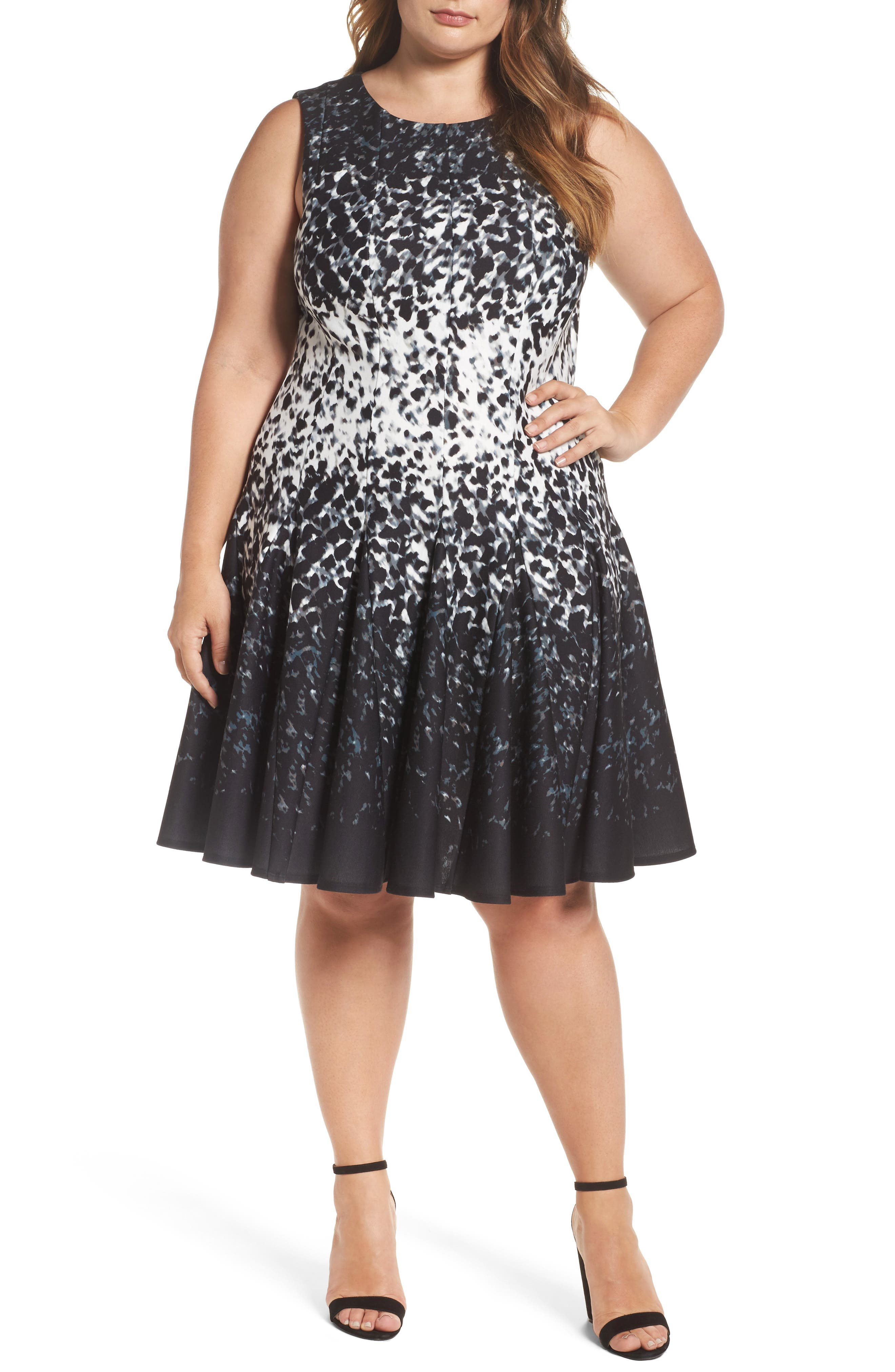 Eliza J Print Ponte Fit & Flare Dress (Plus Size)