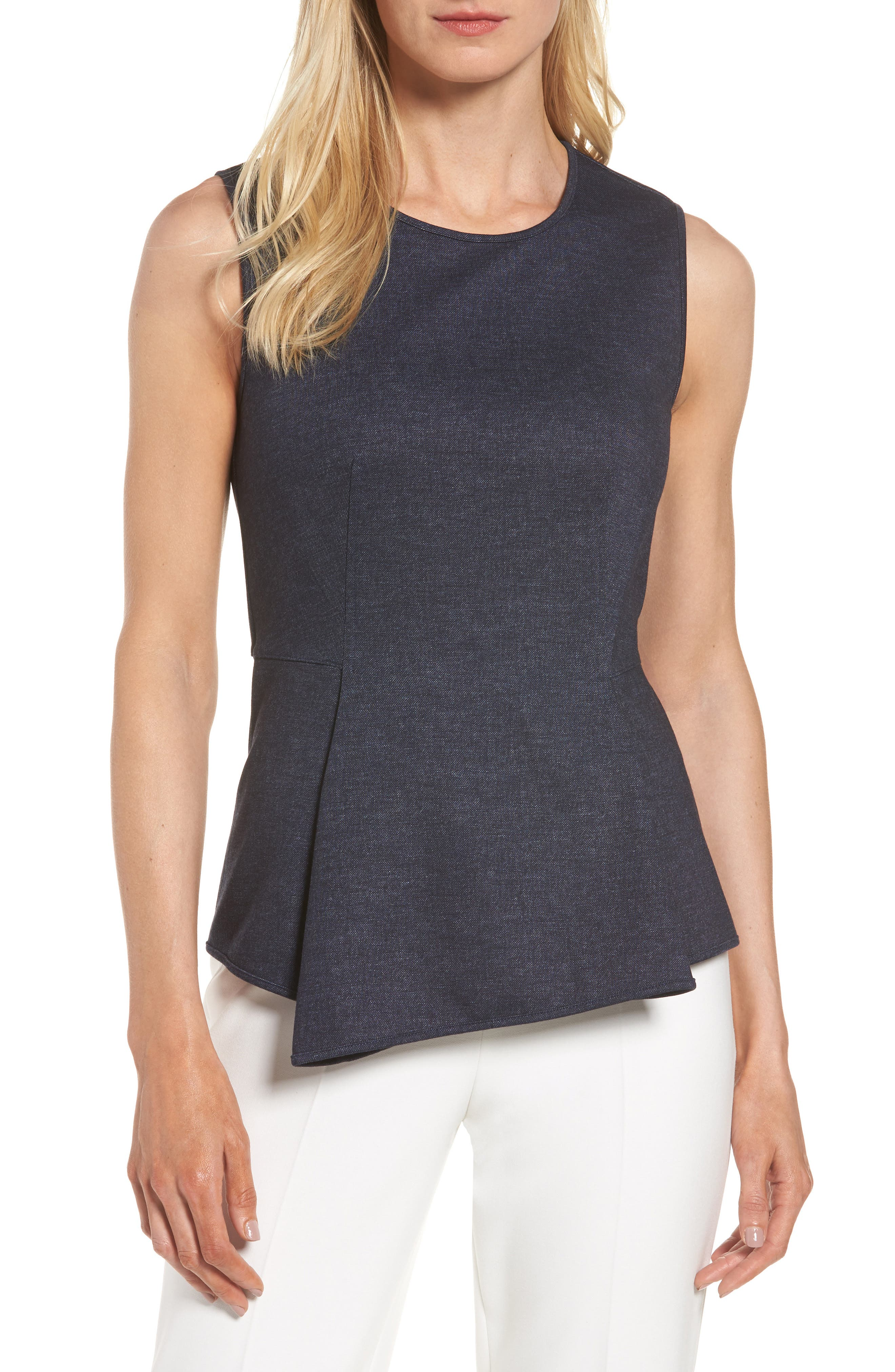 Halogen® Denim Peplum Top (Regular & Petite)