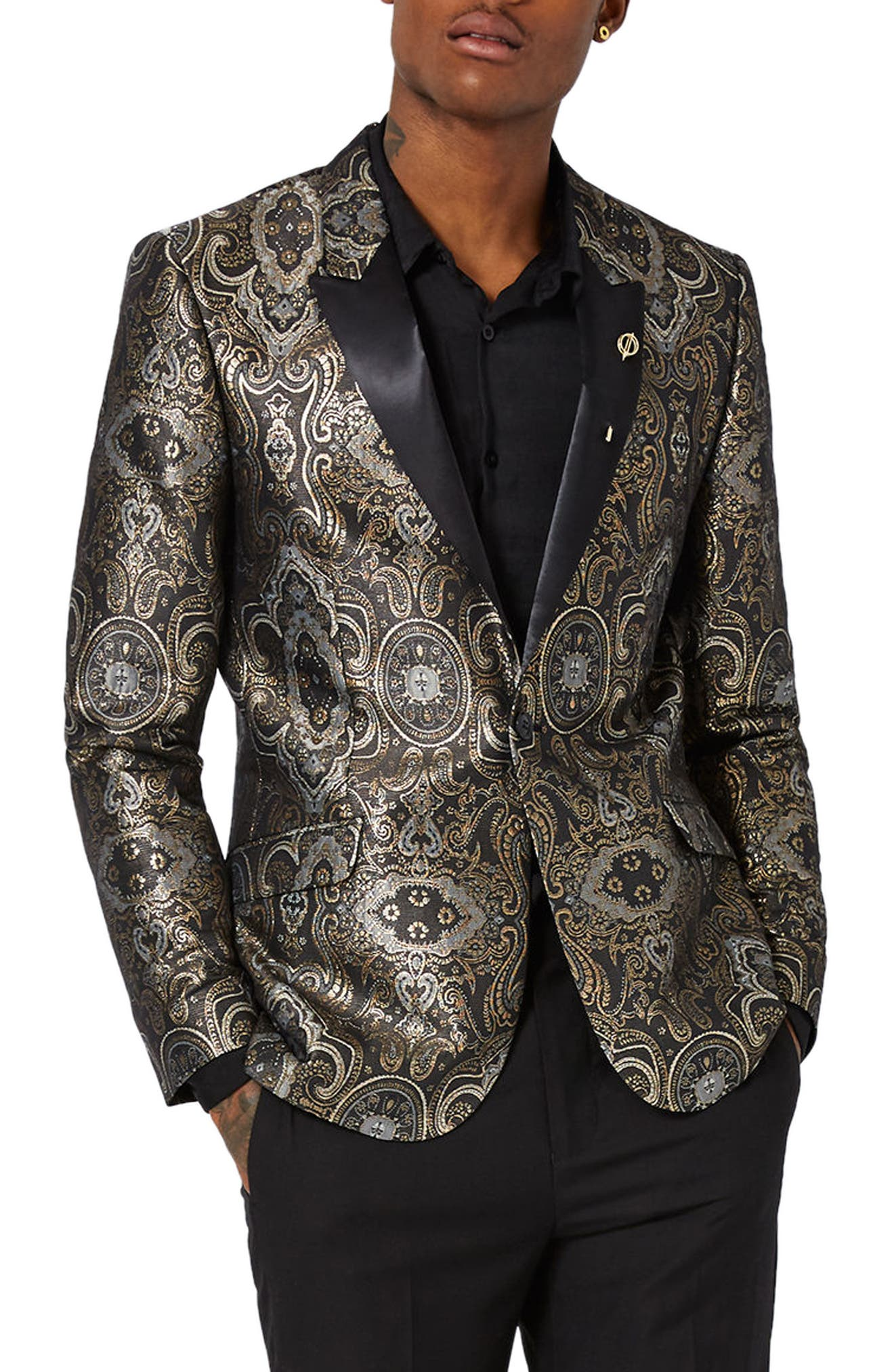 Topman Skinny Fit Paisley Tuxedo Jacket