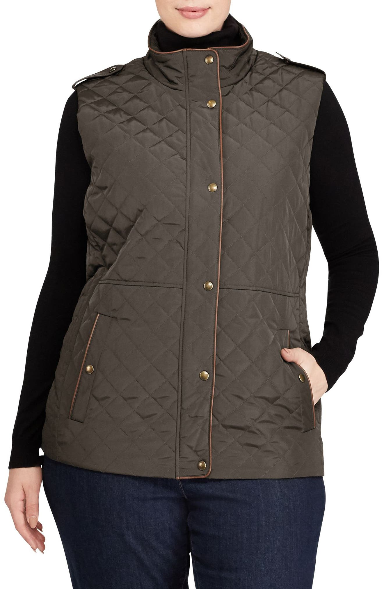 Lauren Ralph Lauren Faux Leather Trim Quilted Vest (Plus Size)
