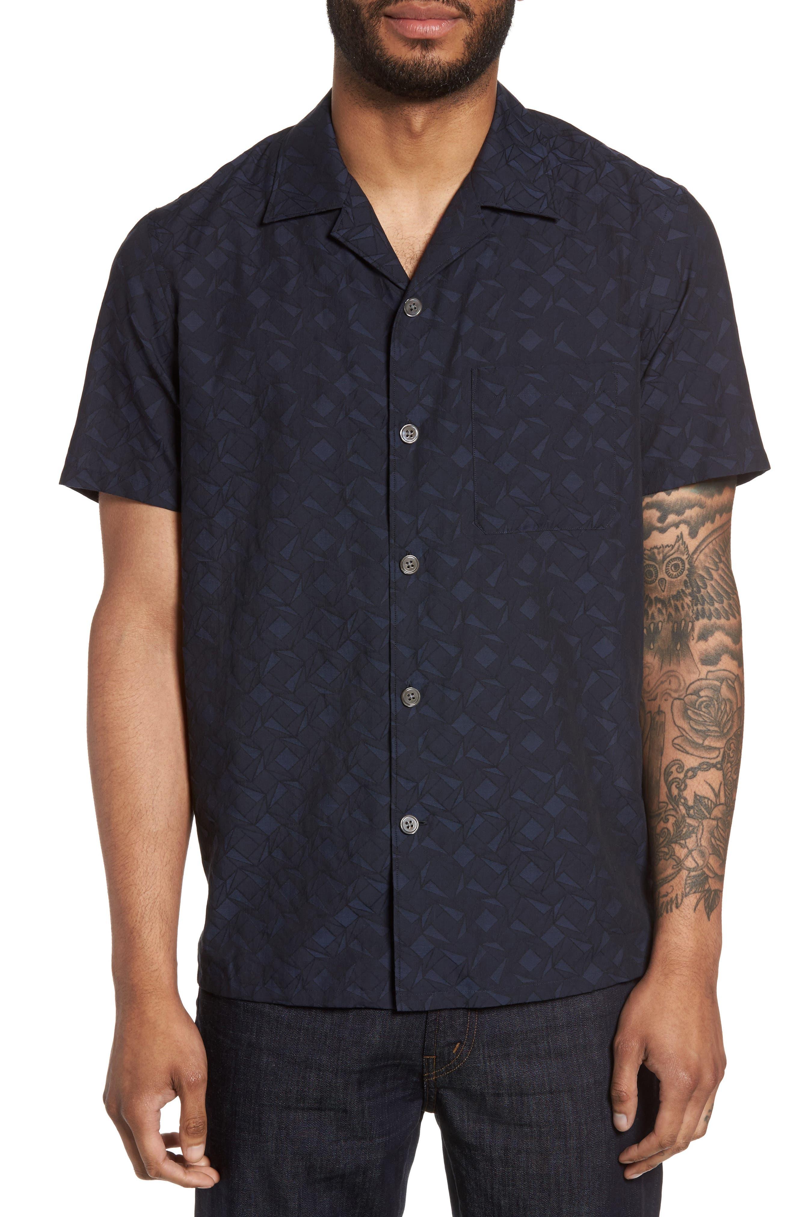 Theory Havana Geo Jacqaurd Slim Fit Sport Shirt