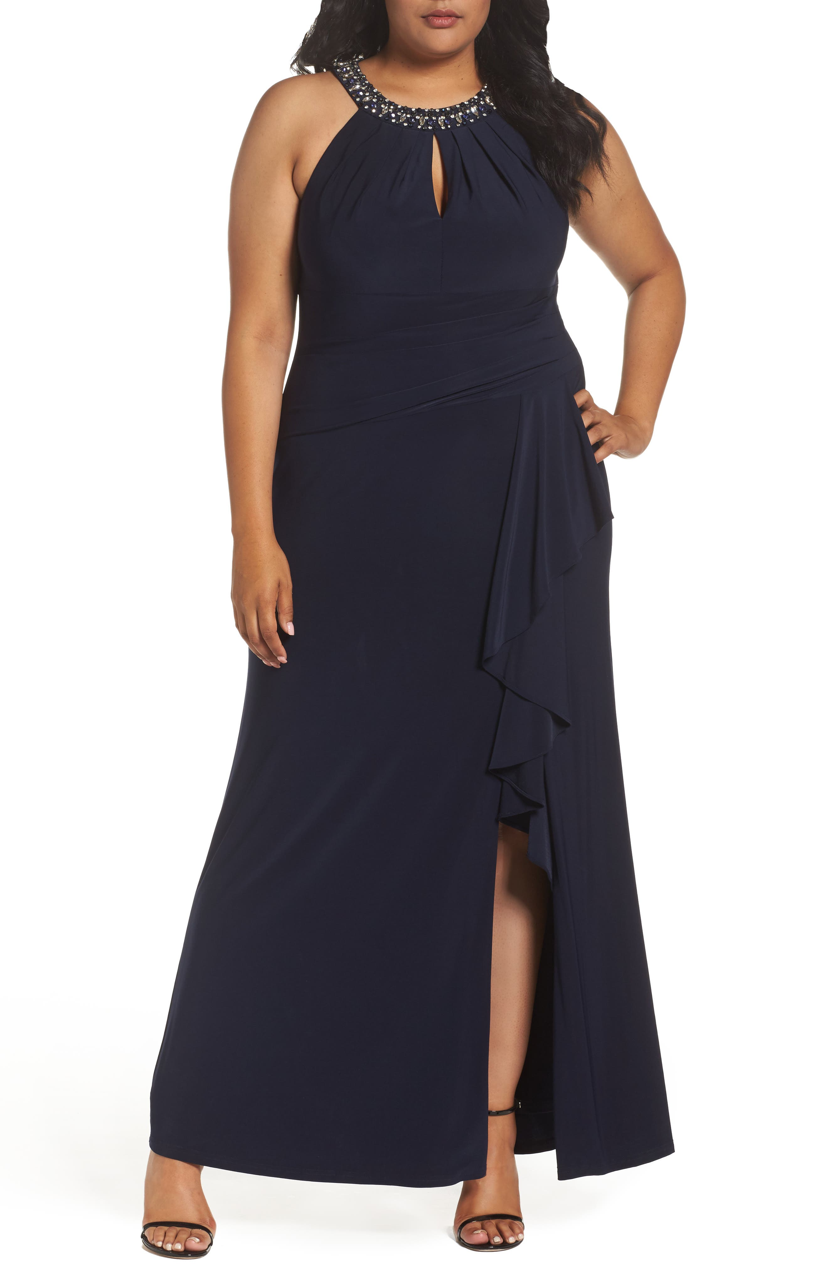 Vince Camuto Beaded Neck Faux Wrap Gown (Plus Size)