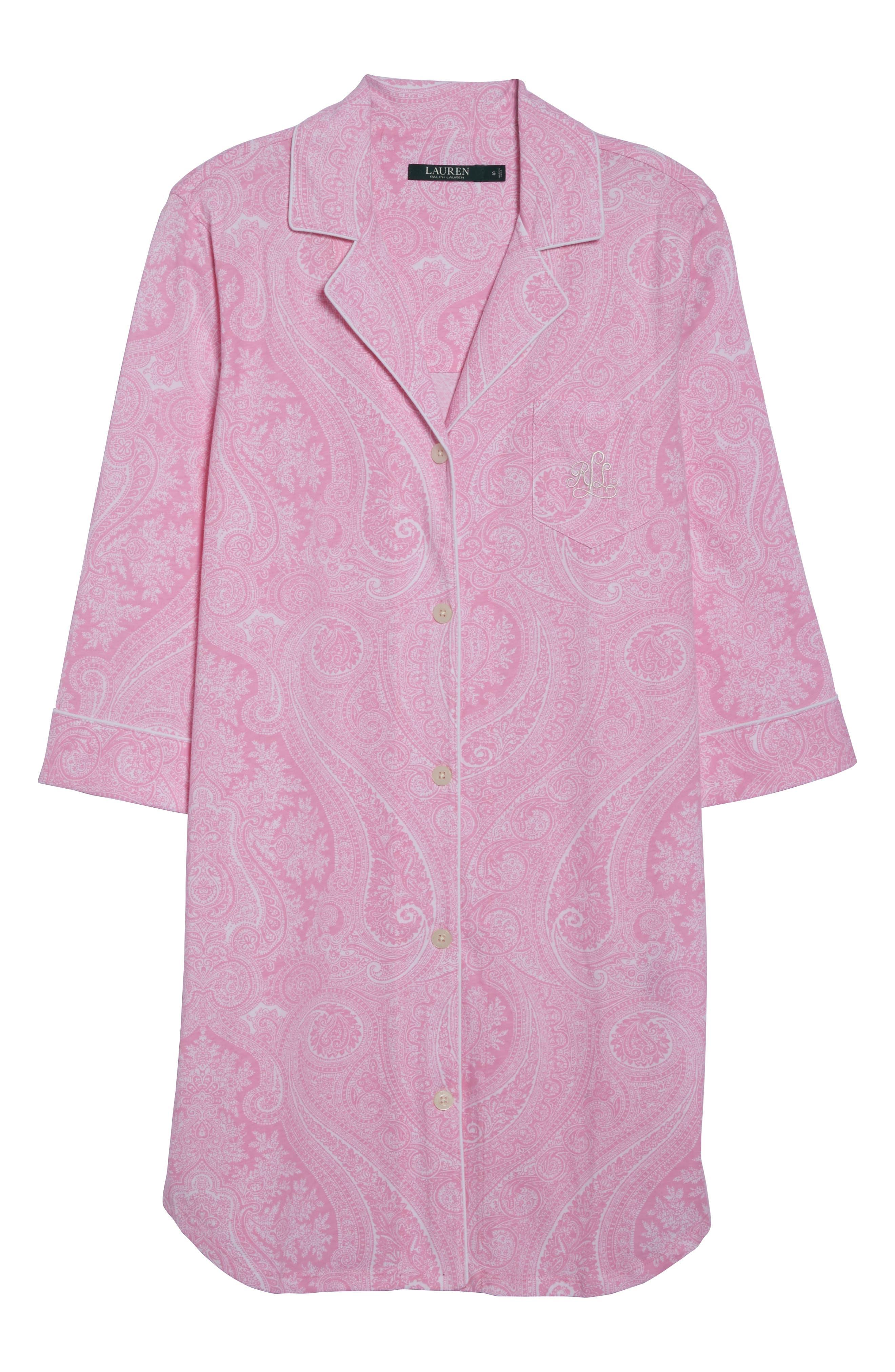 Alternate Image 4  - Lauren Ralph Lauren Jersey Sleep Shirt (Online Only)