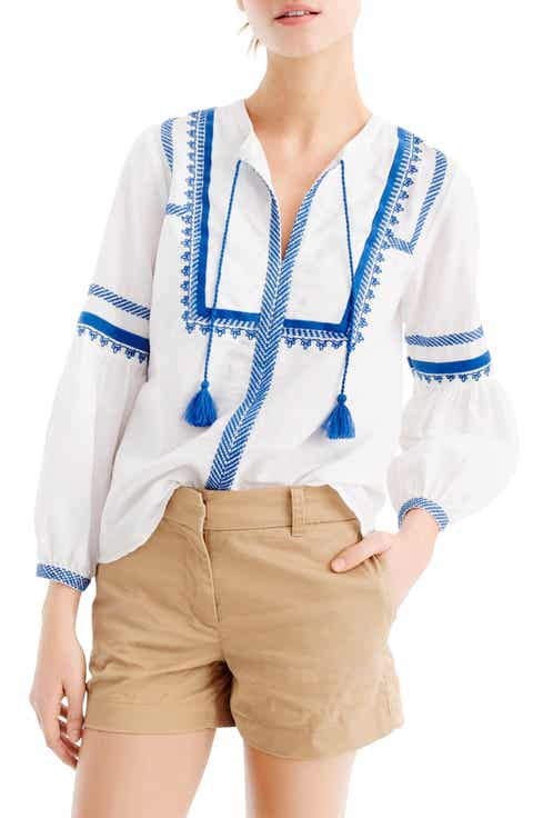 J.Crew Embroidered Linen   Cotton Top (Regular   Petite)