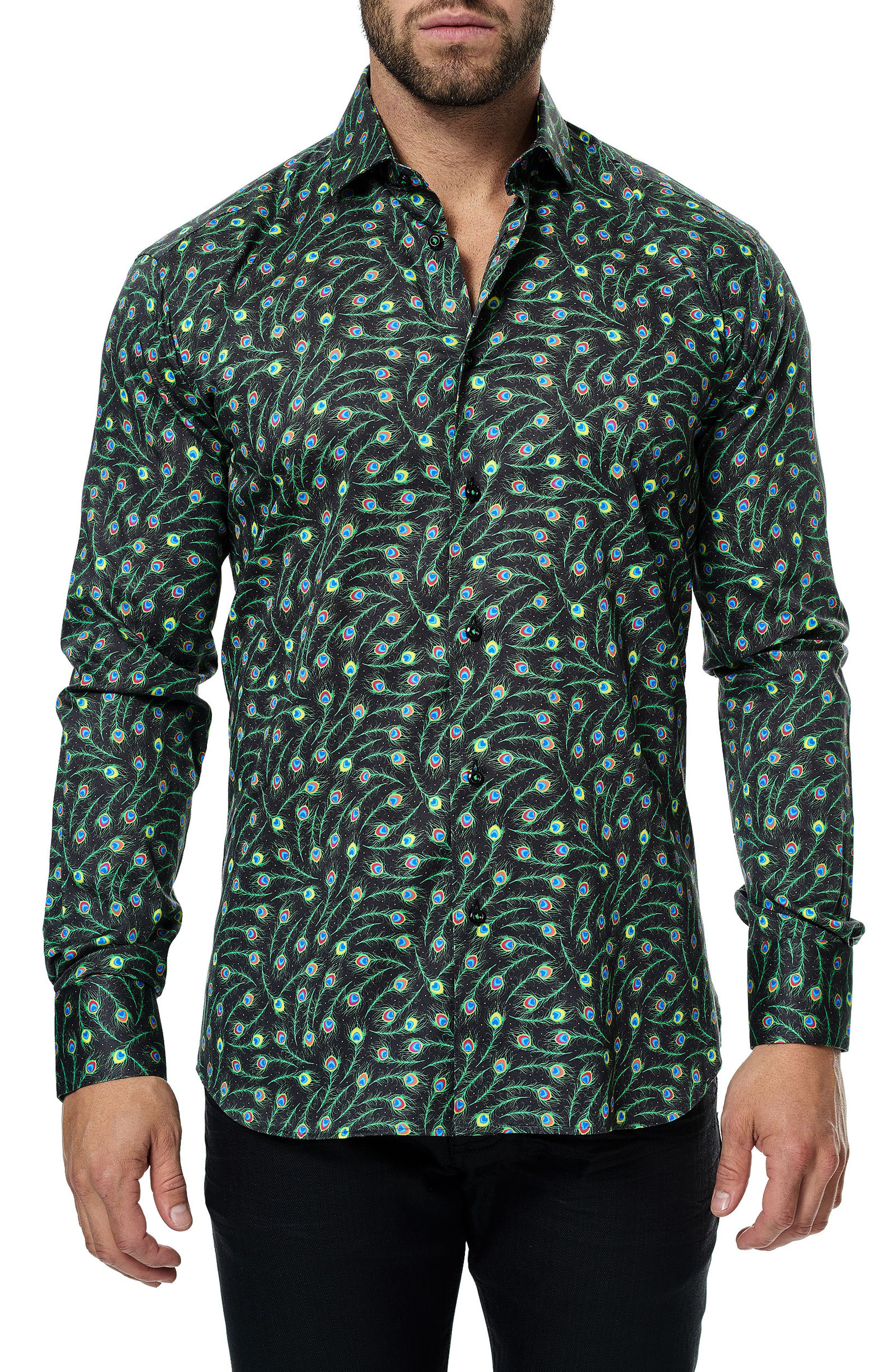 Maceoo Classic Feather Print Sport Shirt
