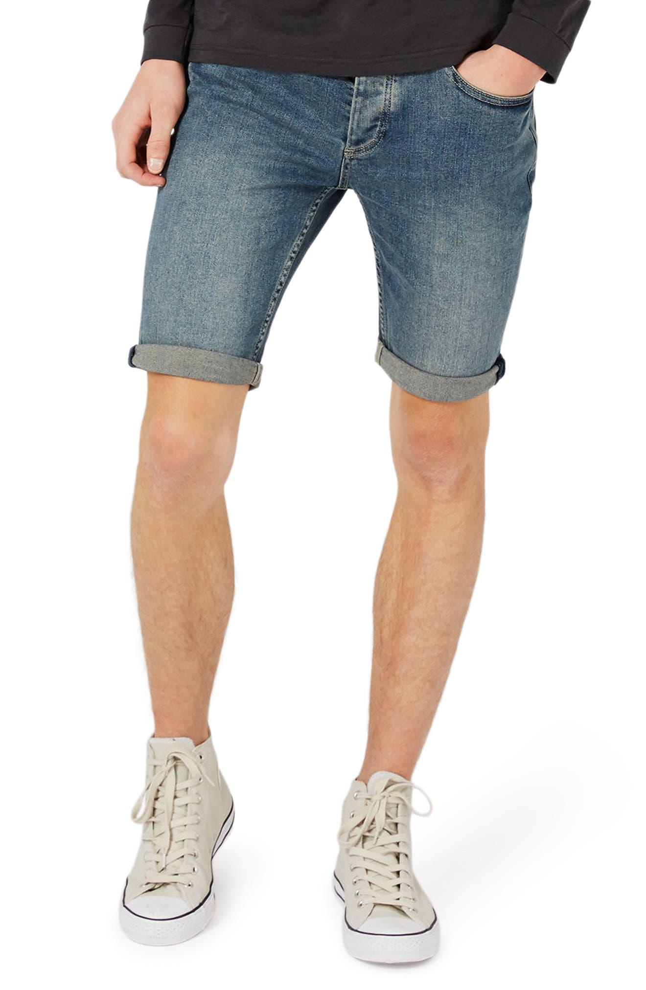 Topman Stretch Skinny Fit Denim Shorts