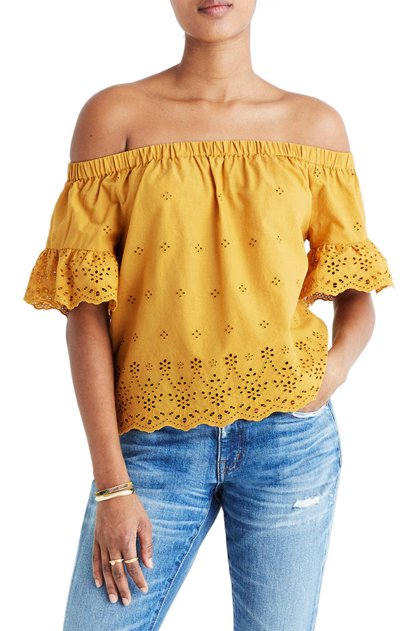 Madewell Off the Shoulder Eyelet Blouse