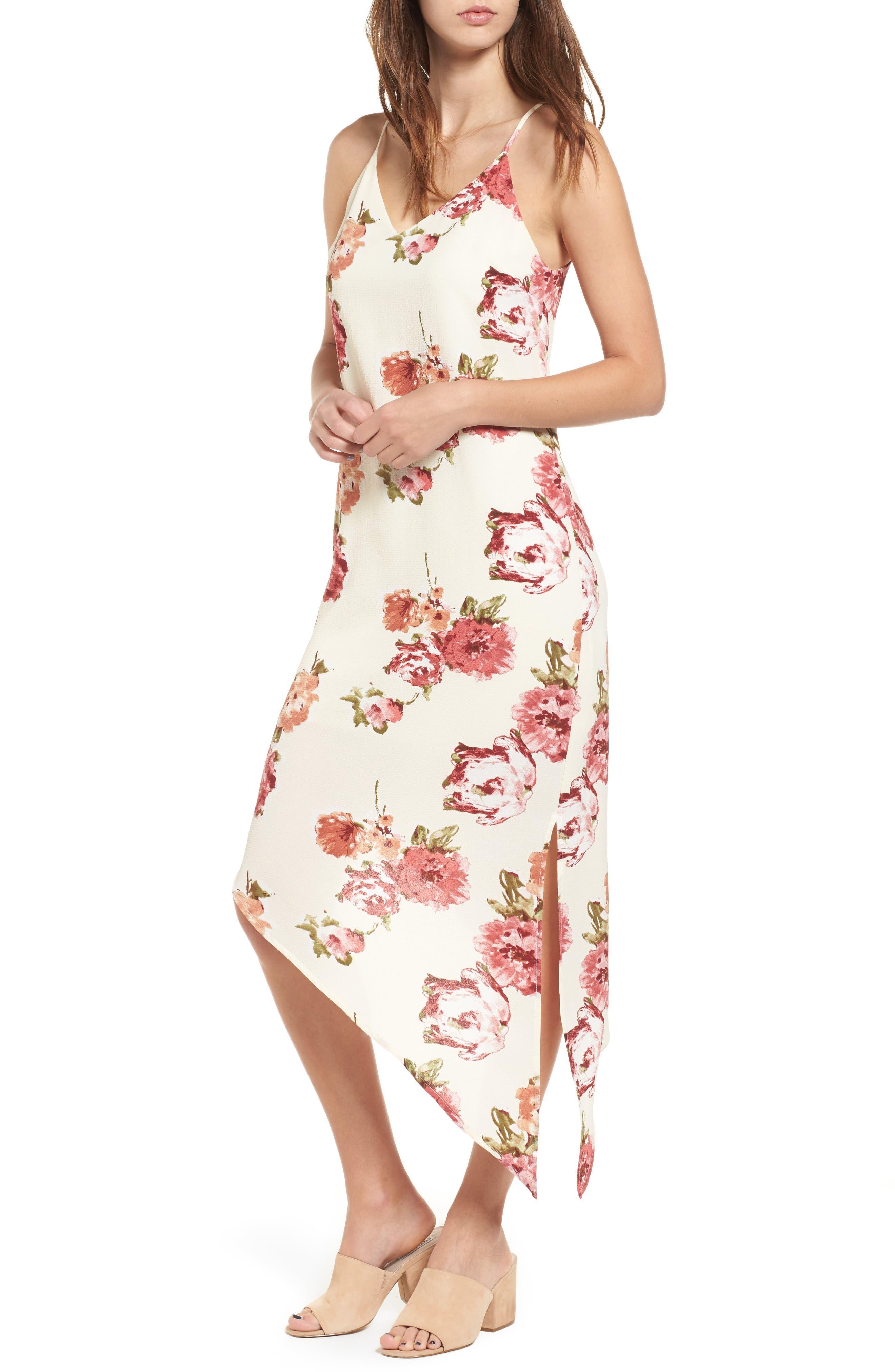 Dee Elly Floral Asymmetrical Midi Dress