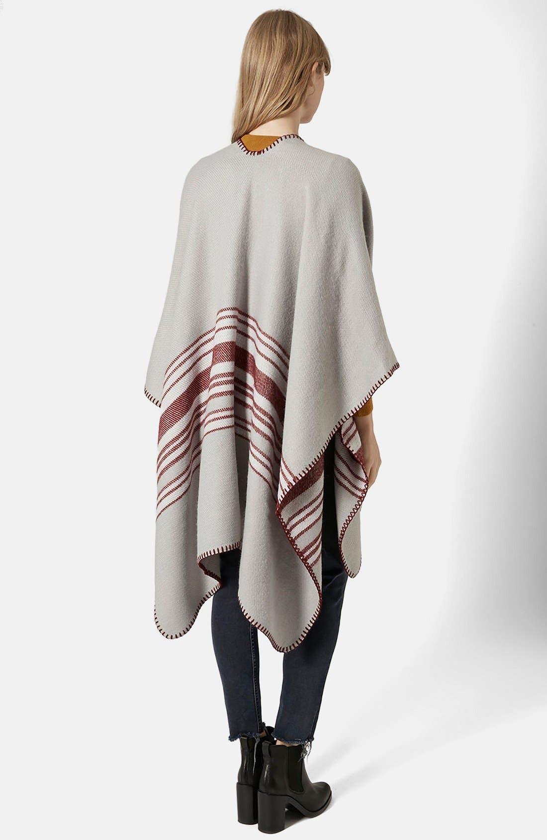 Alternate Image 3  - Topshop Stripe Blanket Cape