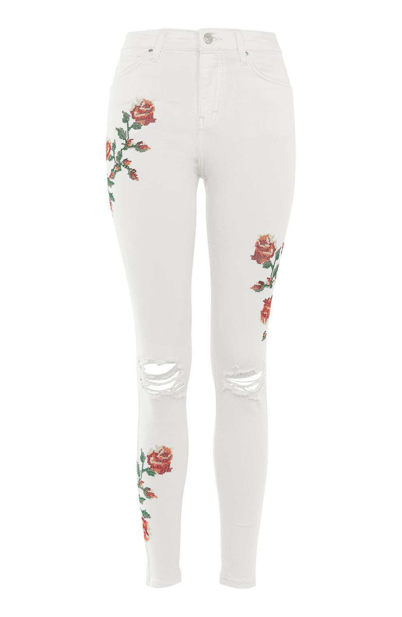 Alternate Image 5  - Topshop Jamie Embroidered Skinny Jeans (Regular & Petite)