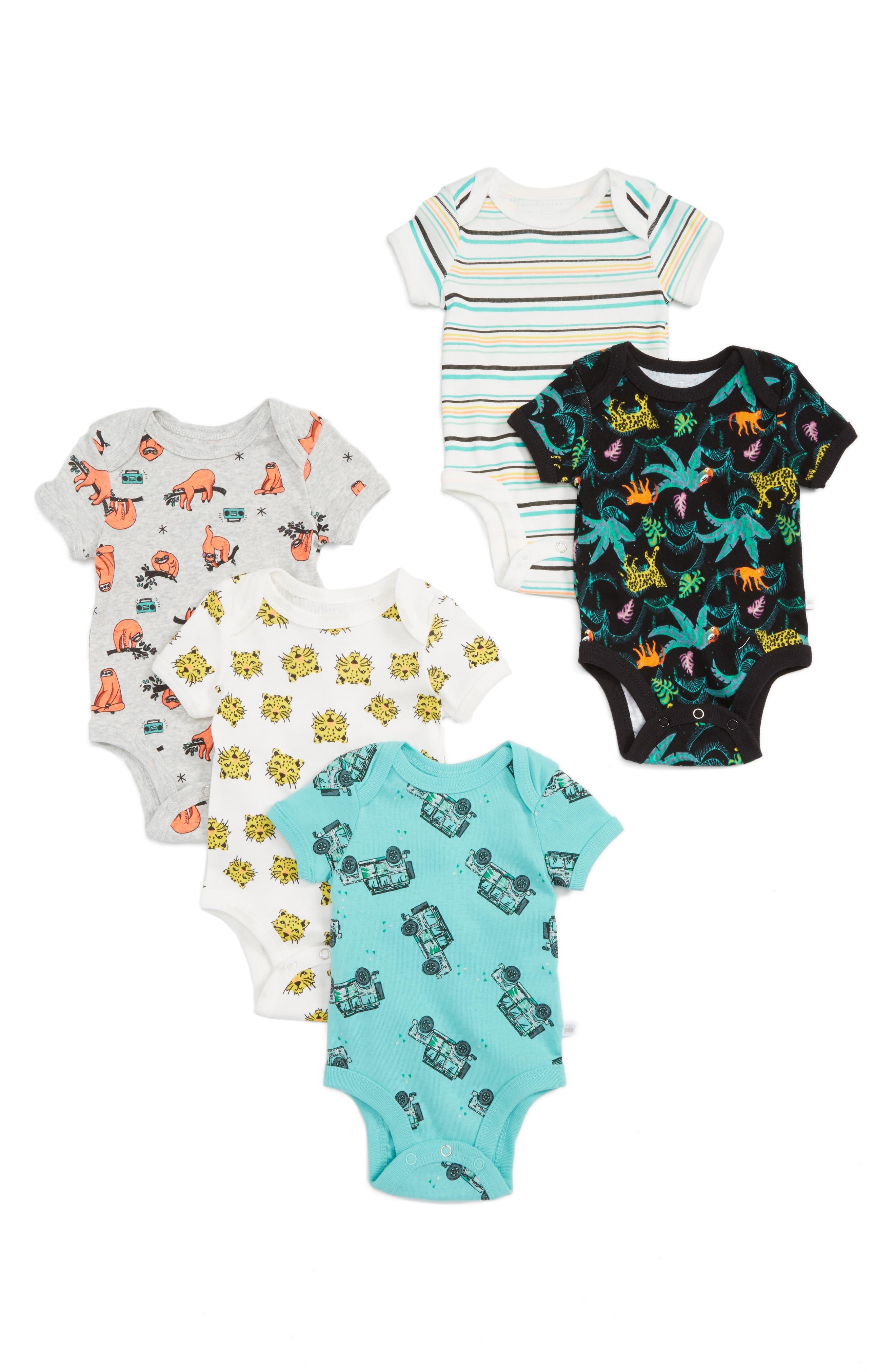 Rosie Pope Safari 5-Pack Bodysuits (Baby)