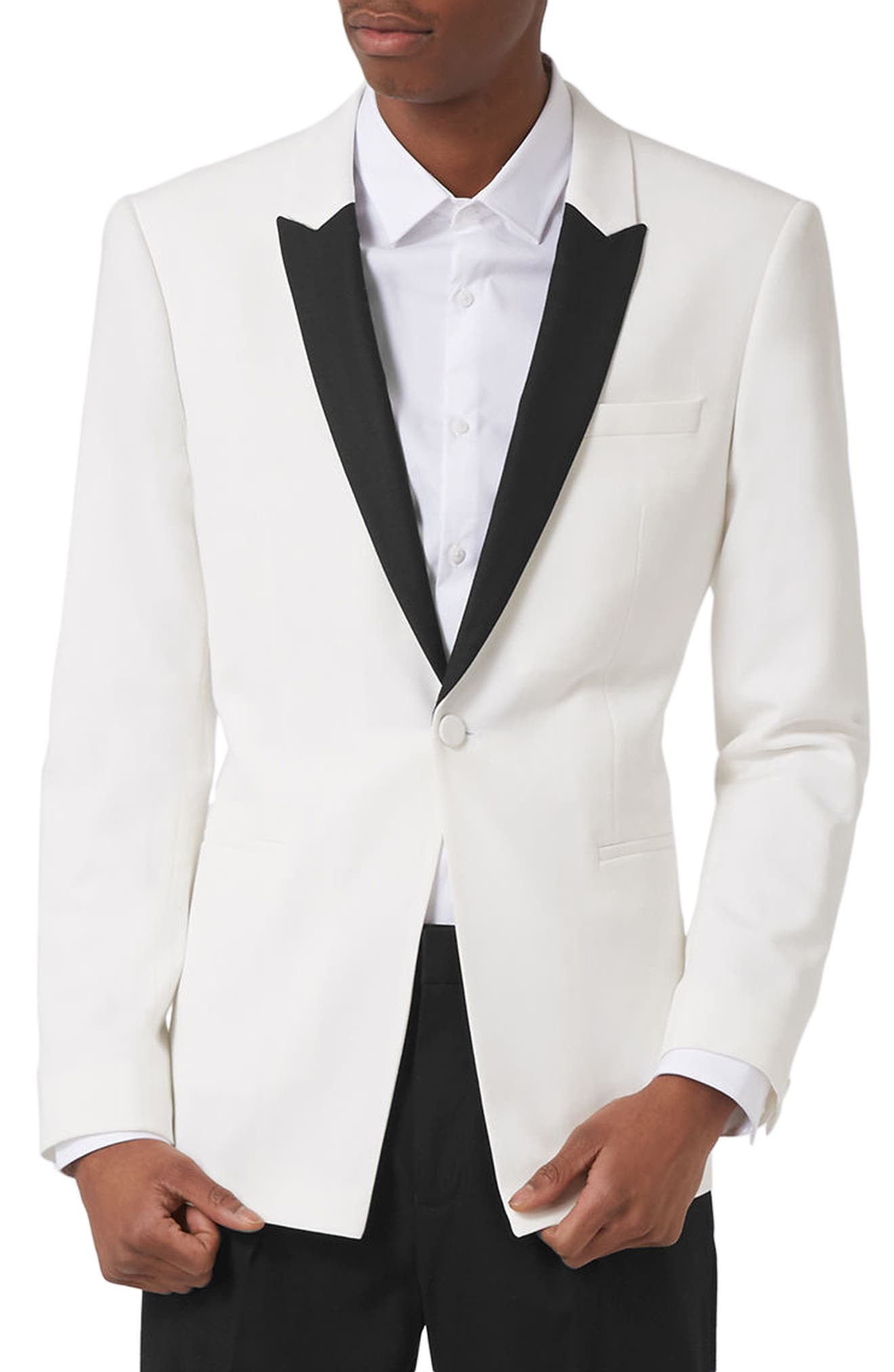 Topman Skinny Fit Contrast Tuxedo Jacket